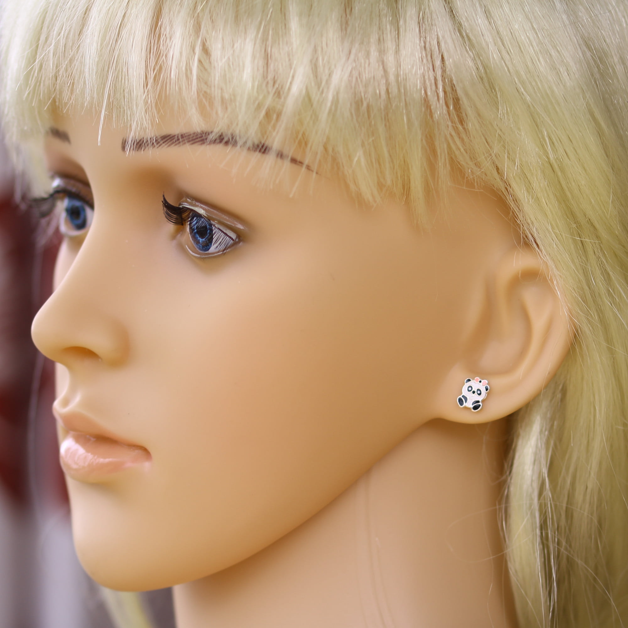 Cute panda earrings in silver model