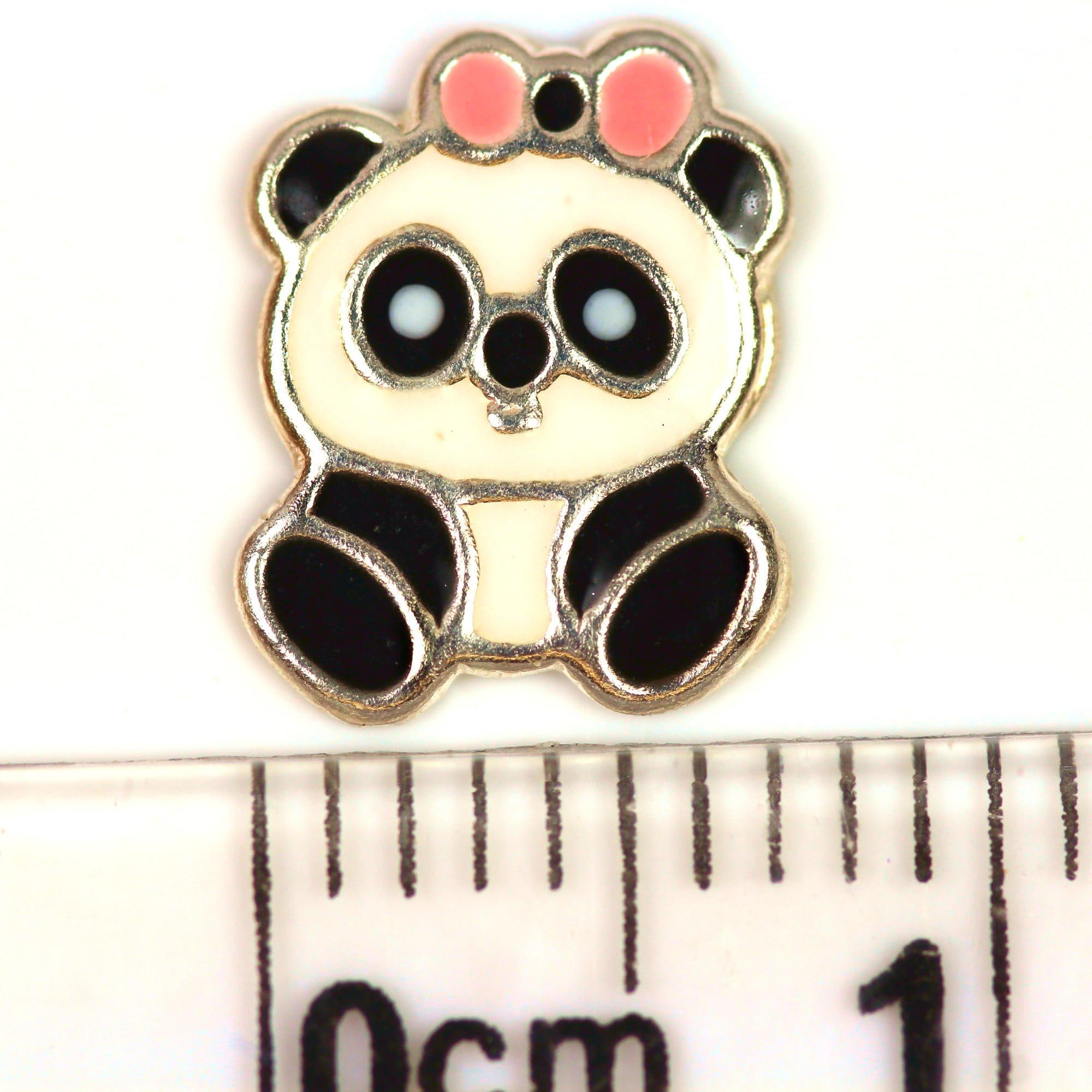 Cute panda earrings in silver ruler