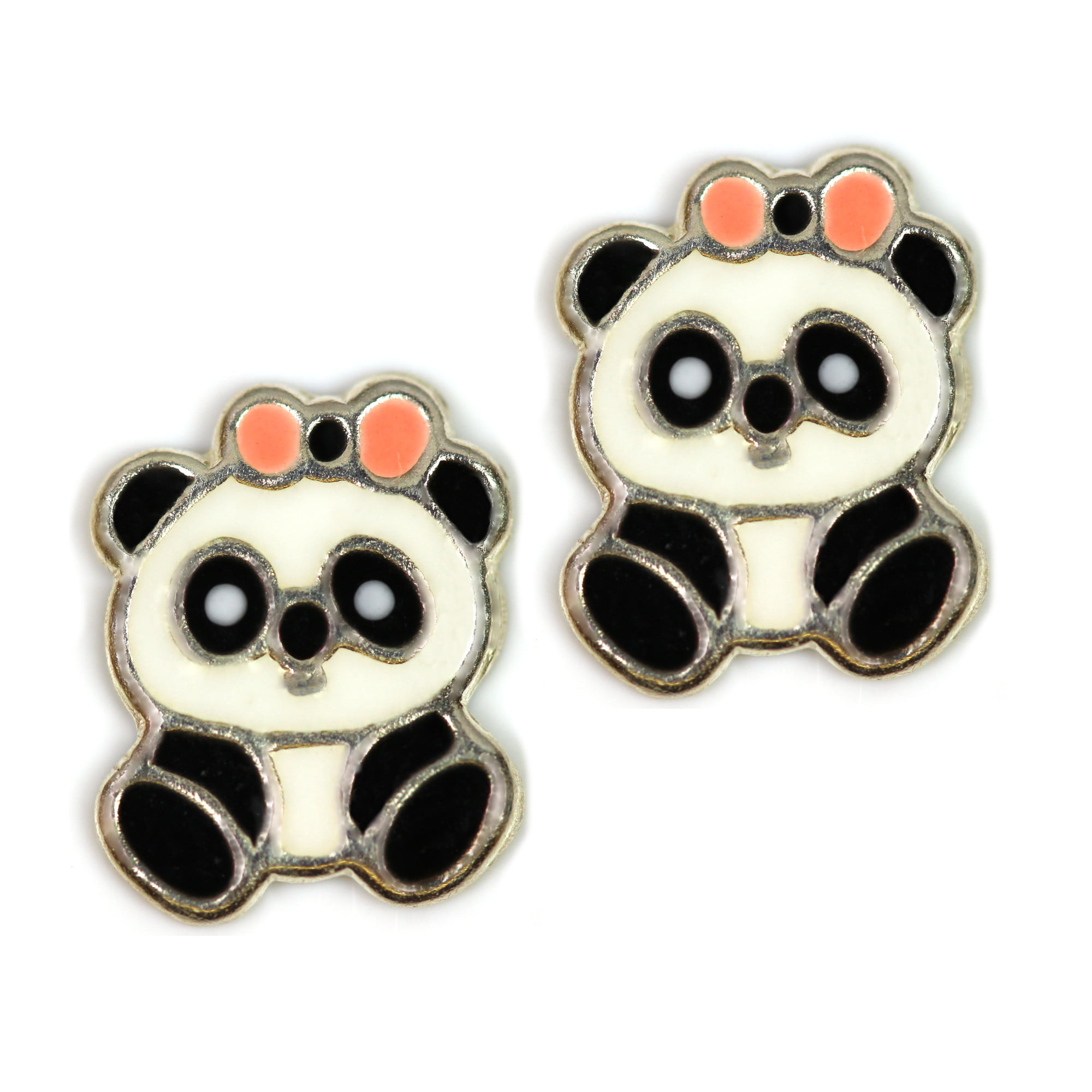Cute panda earrings in silver