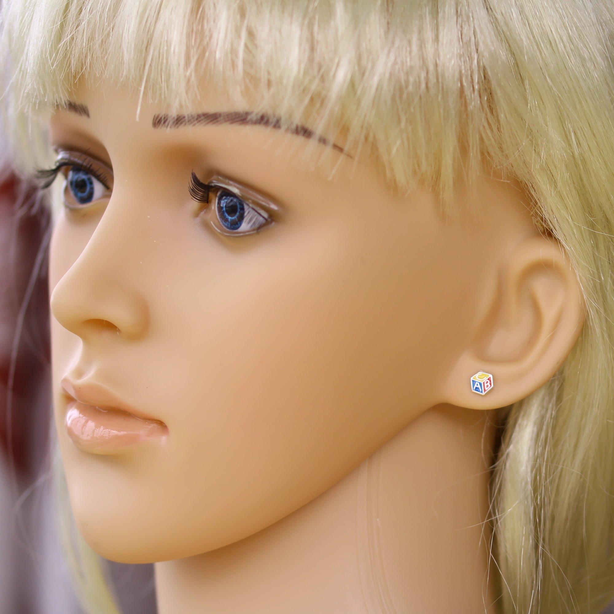 Child's alphabet block earrings in silver model