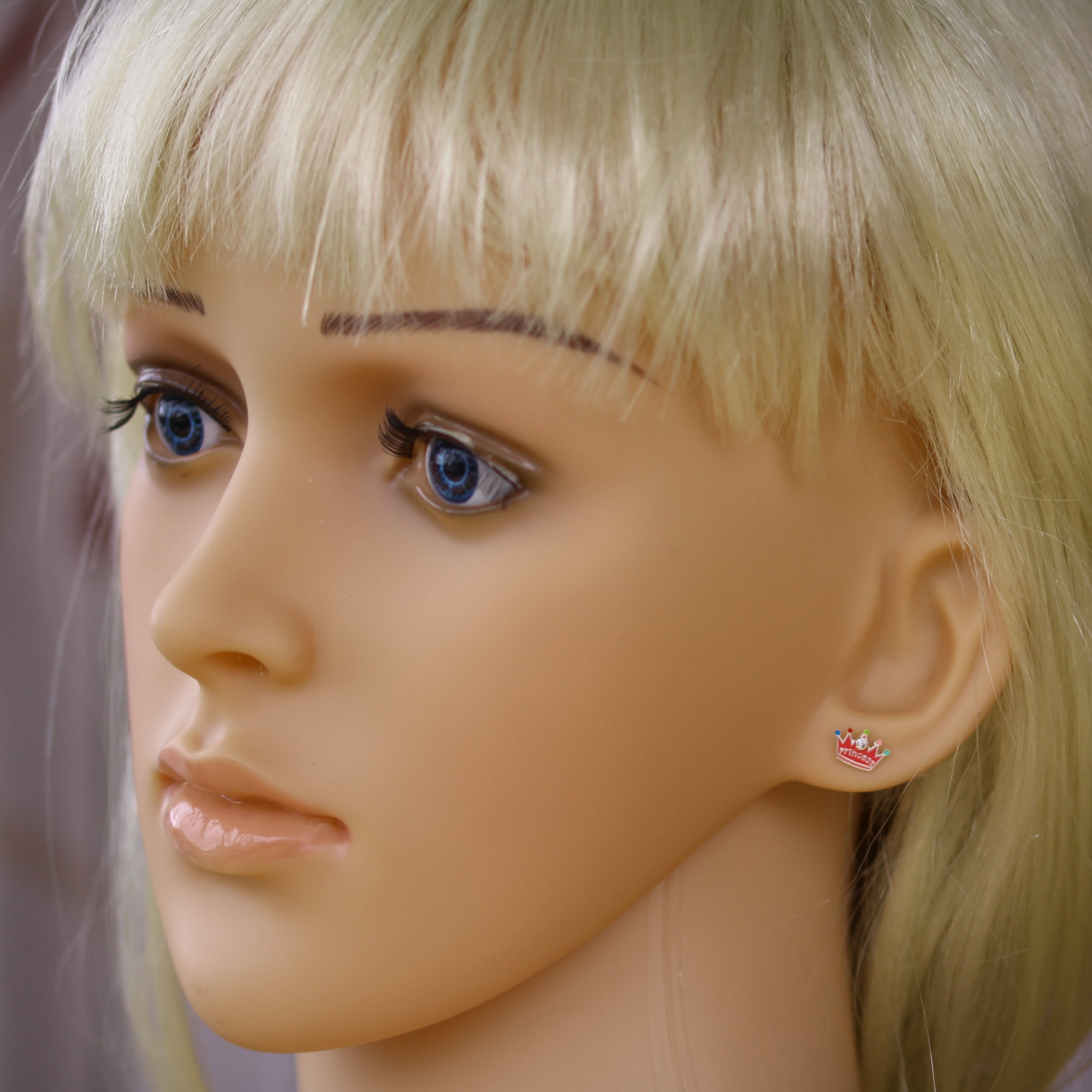 Princess crown earrings in sterling silver model