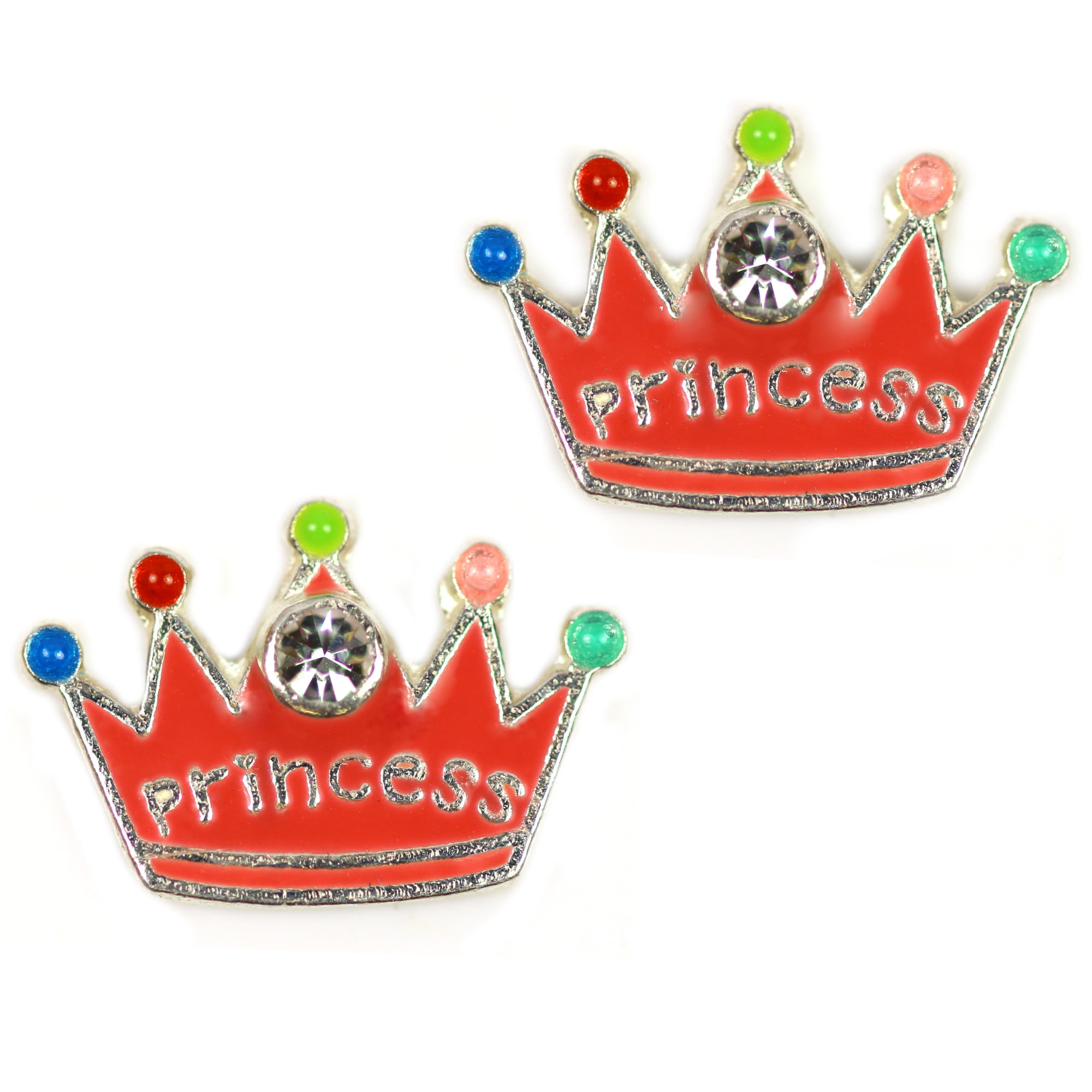 Princess crown earrings in sterling silver