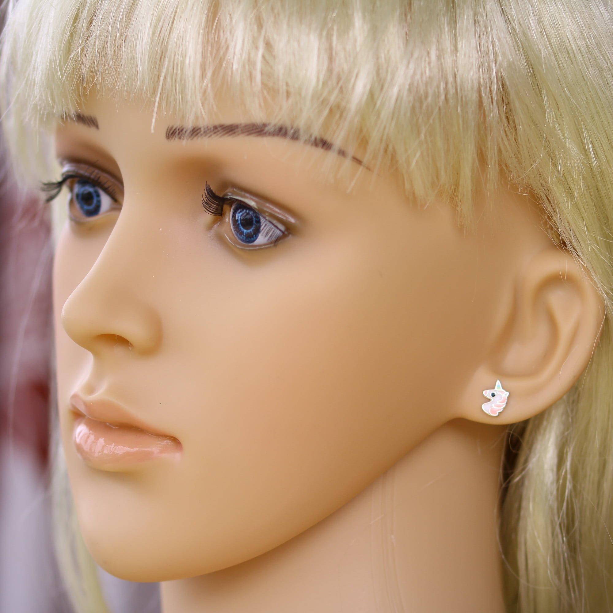 Girls unicorn earrings in silver model
