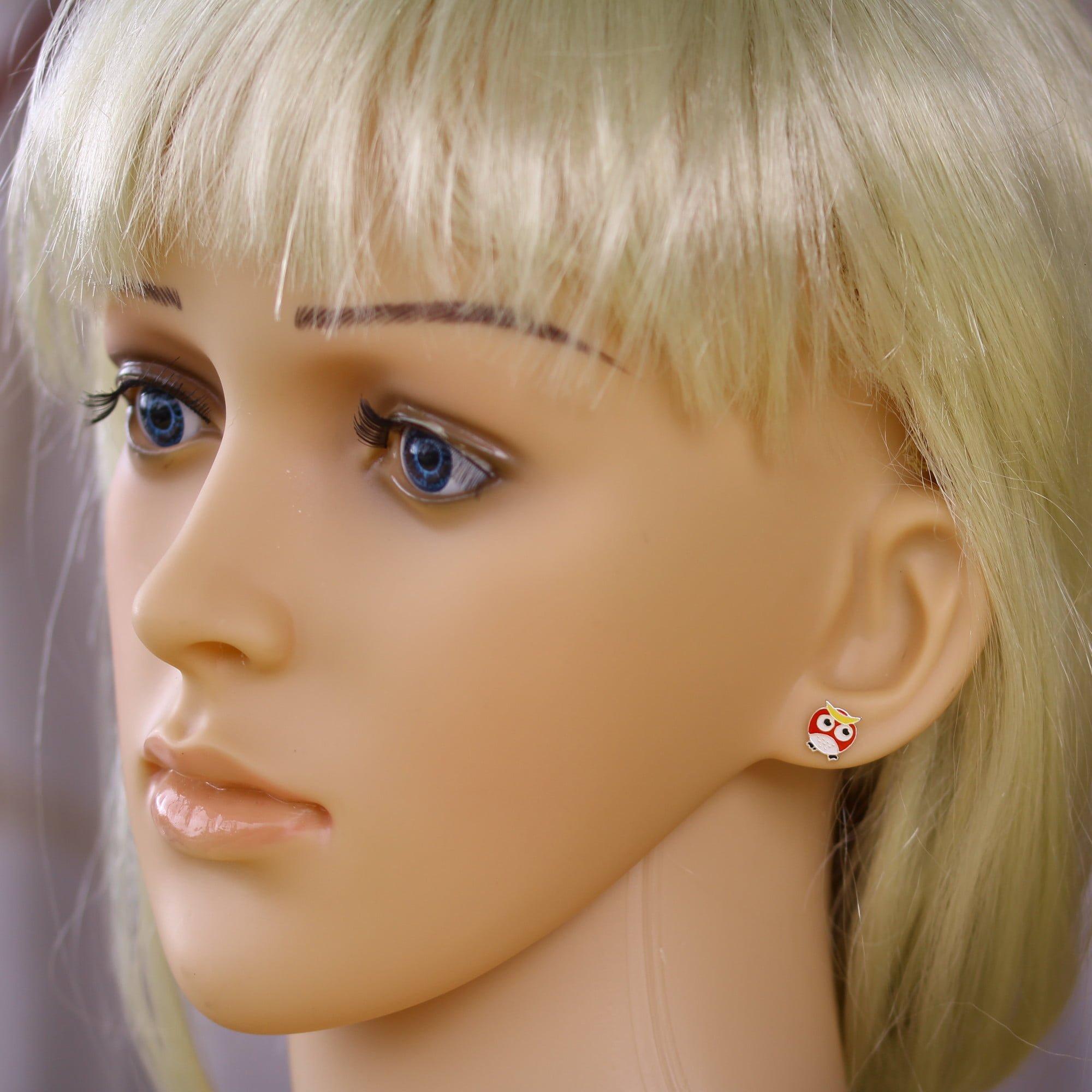 Kids enamel owl earrings in silver model