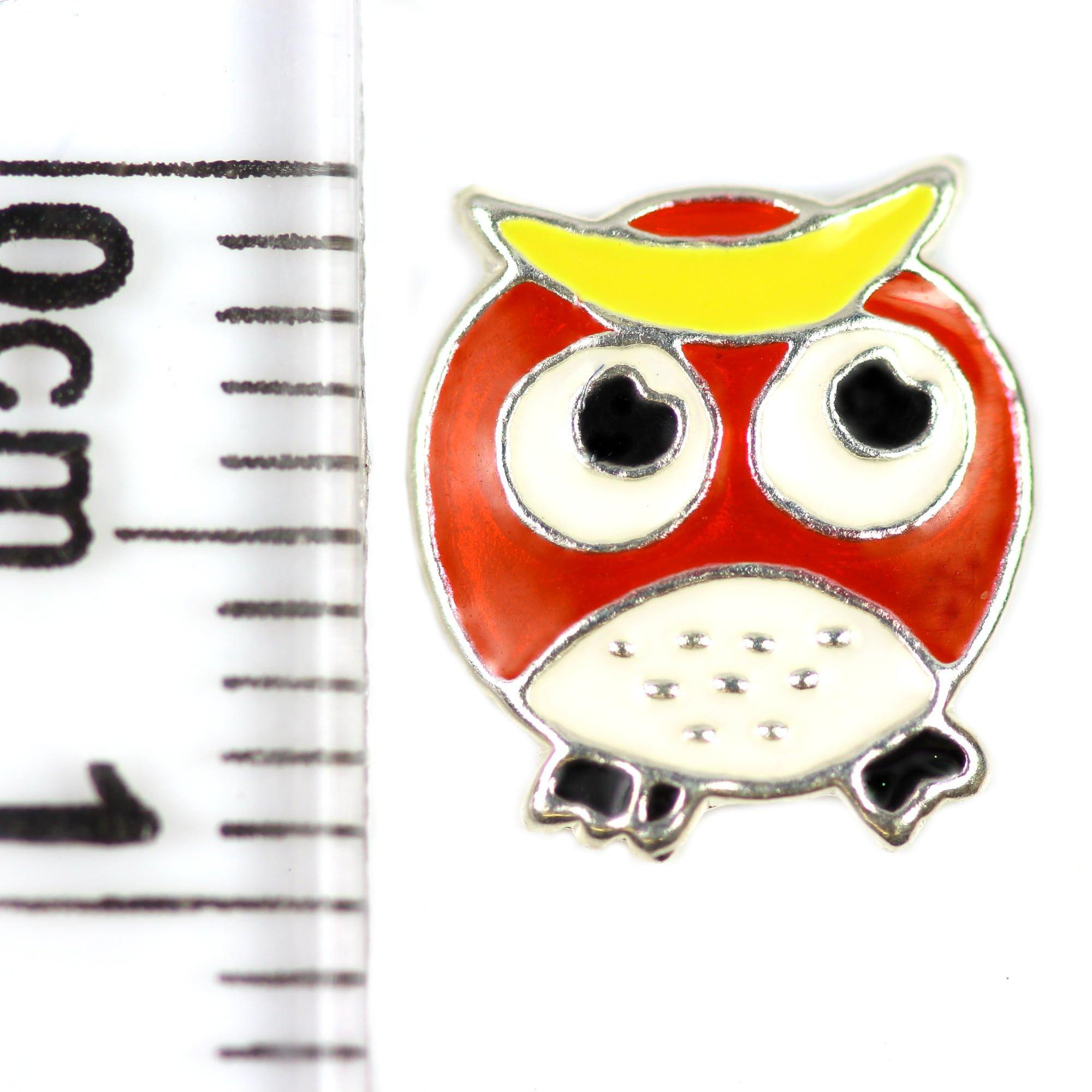 Kids enamel owl earrings in silver ruler