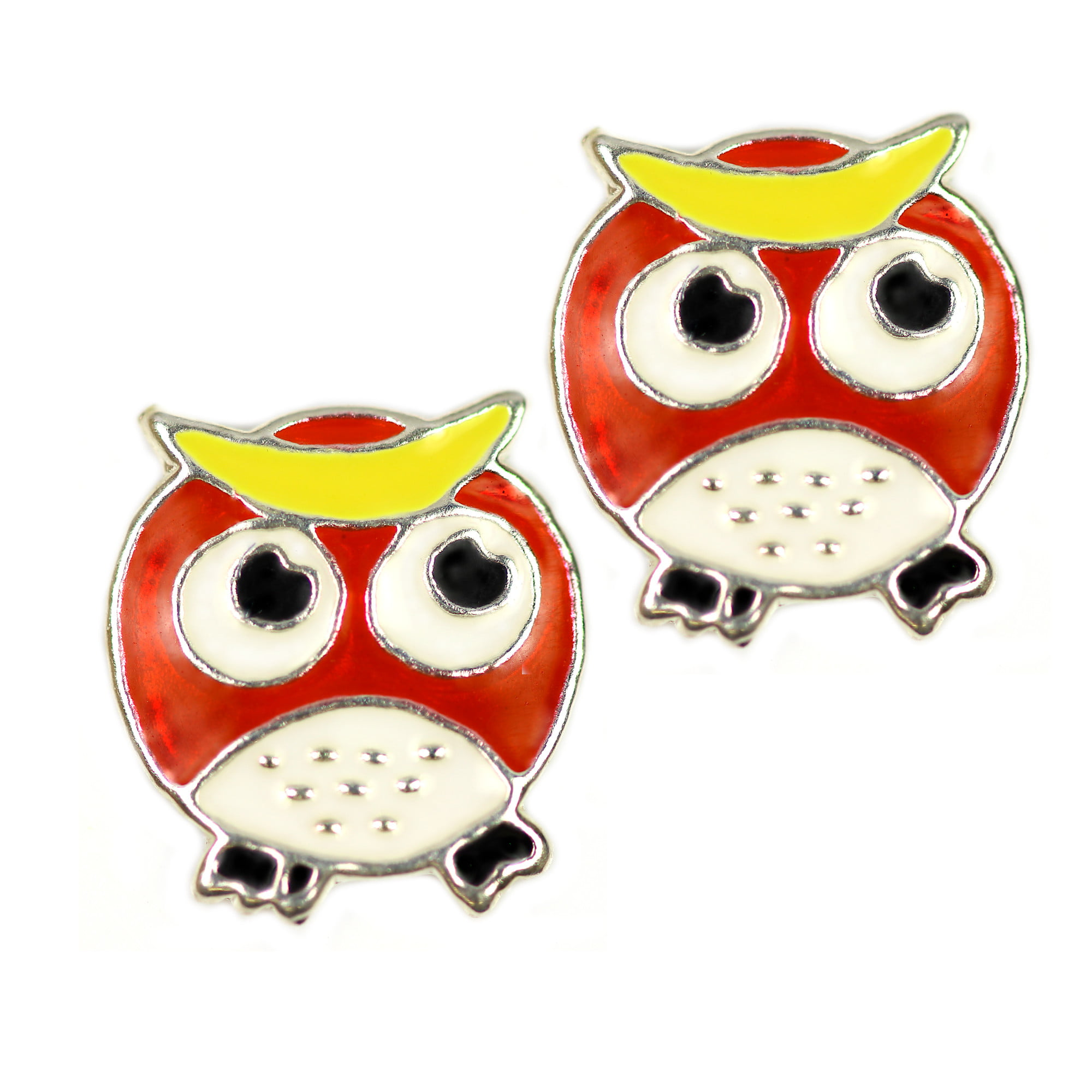 Kids enamel owl earrings in silver