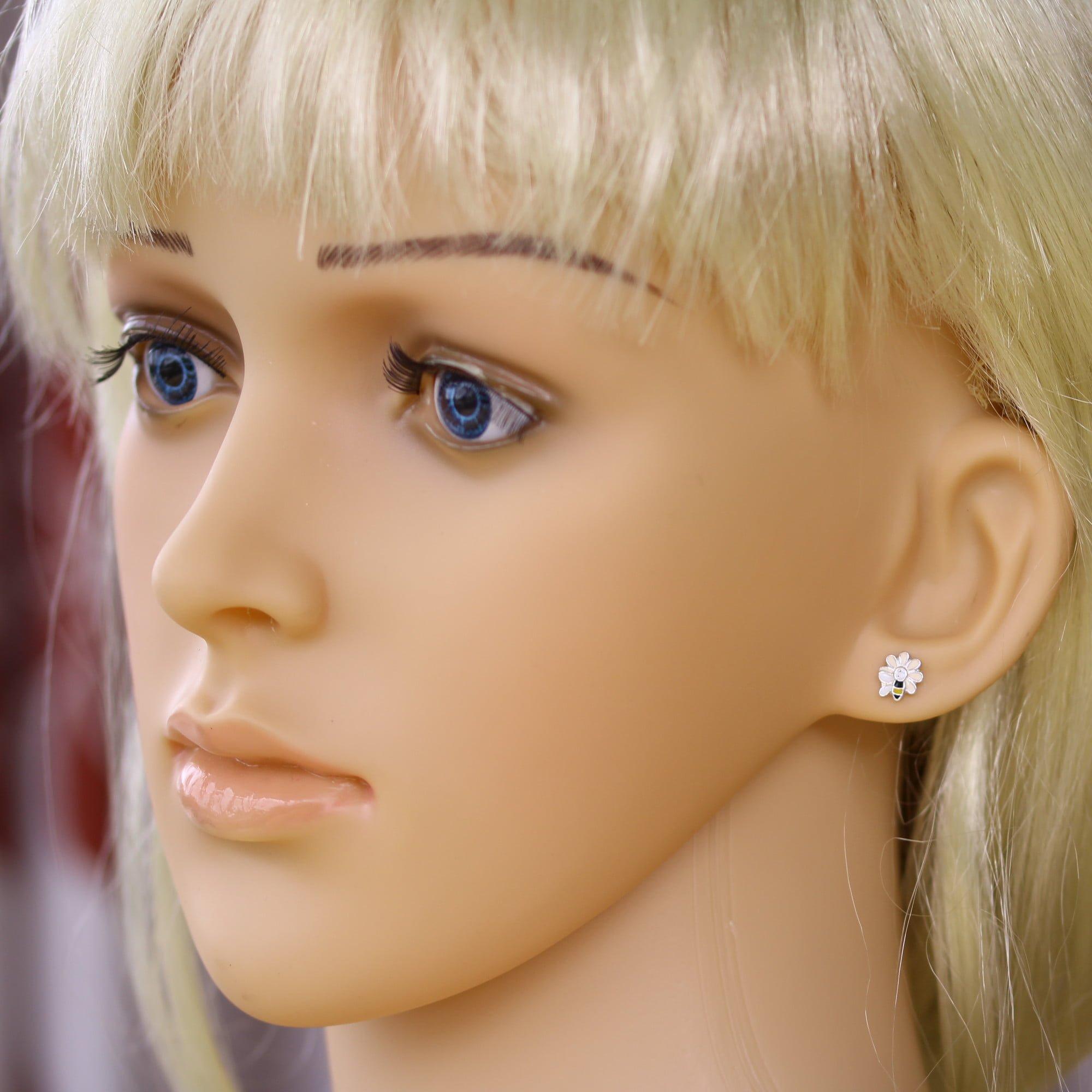 Girls bee and flower earrings in silver model