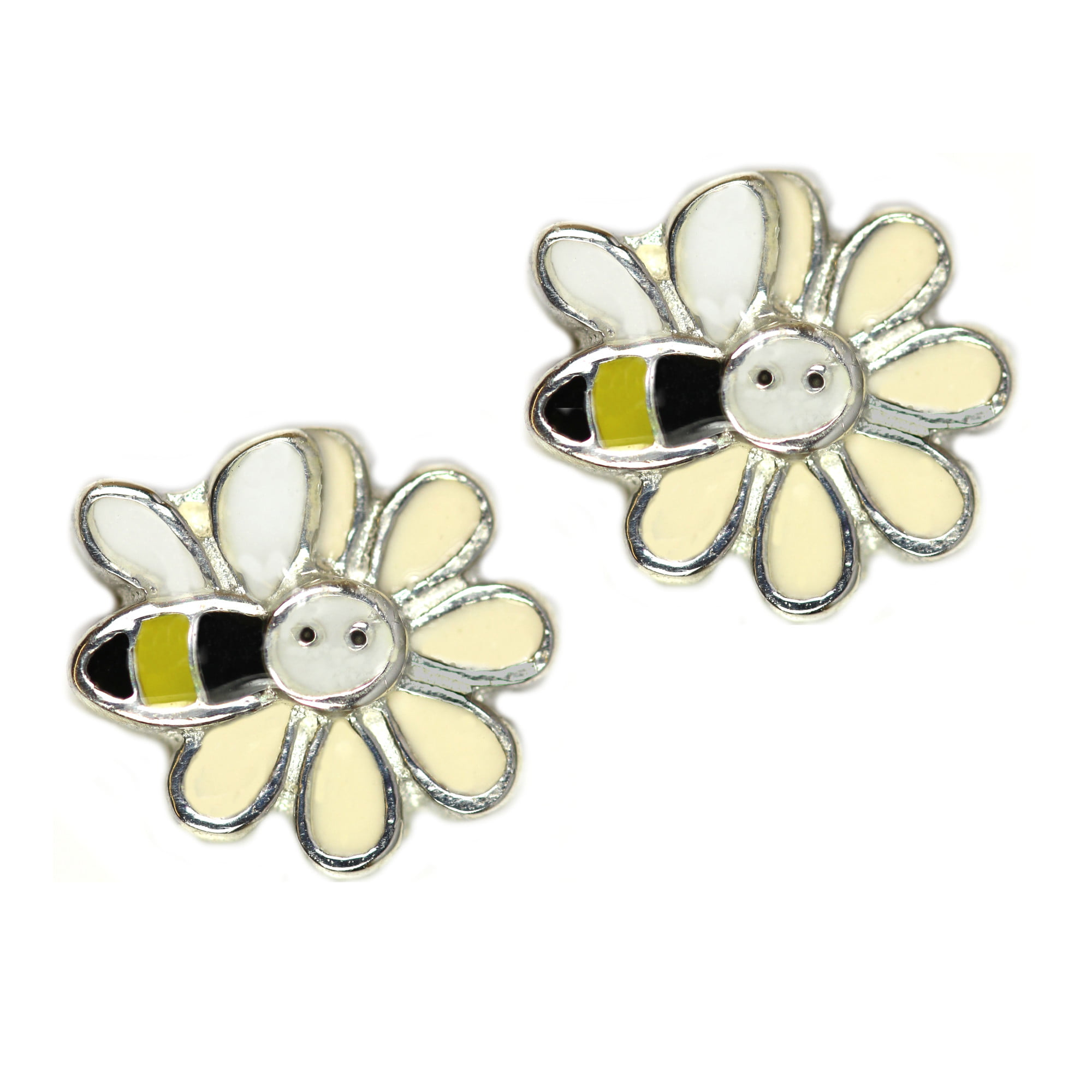 Girls bee and flower earrings in silver