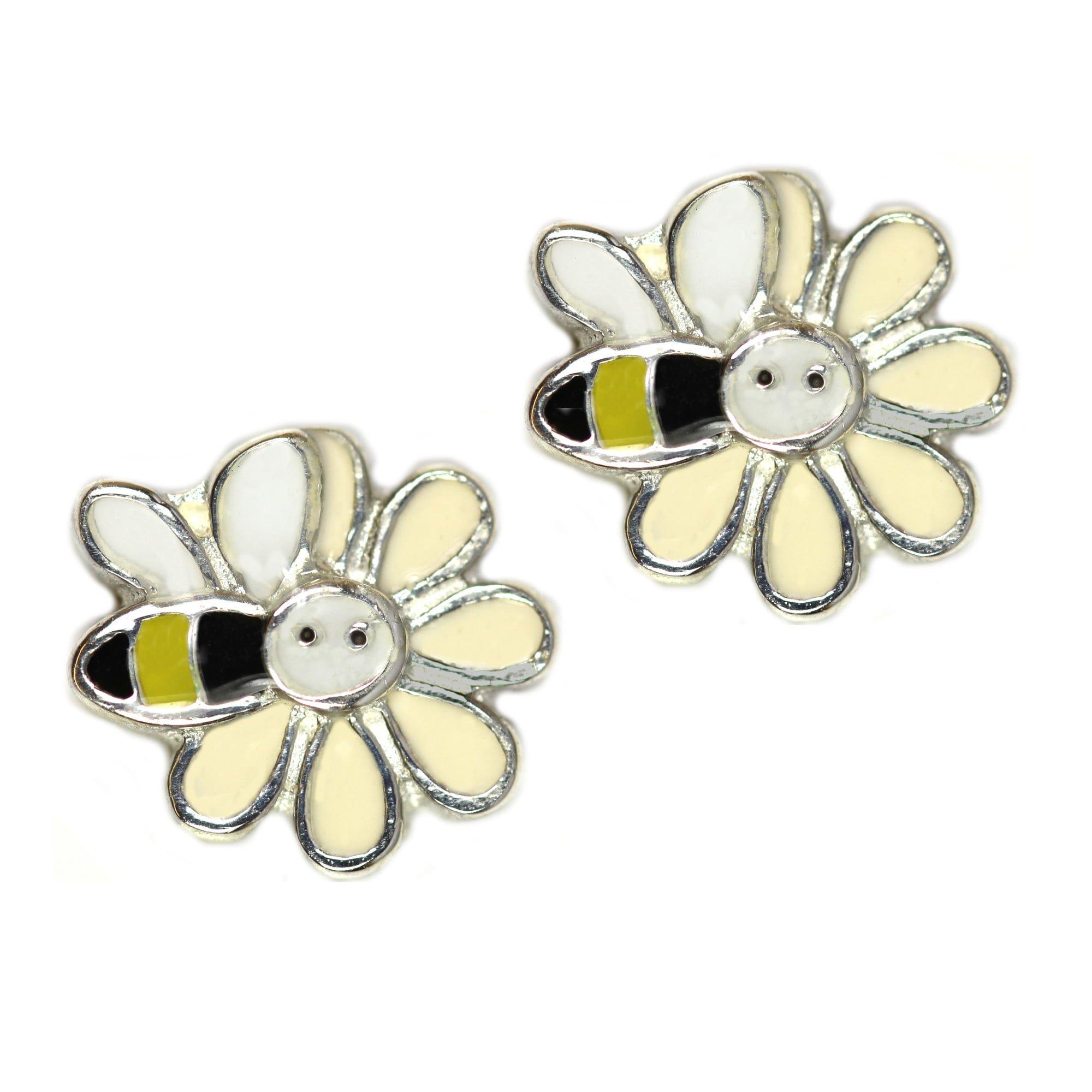 Girls bee and flower earrings in silver