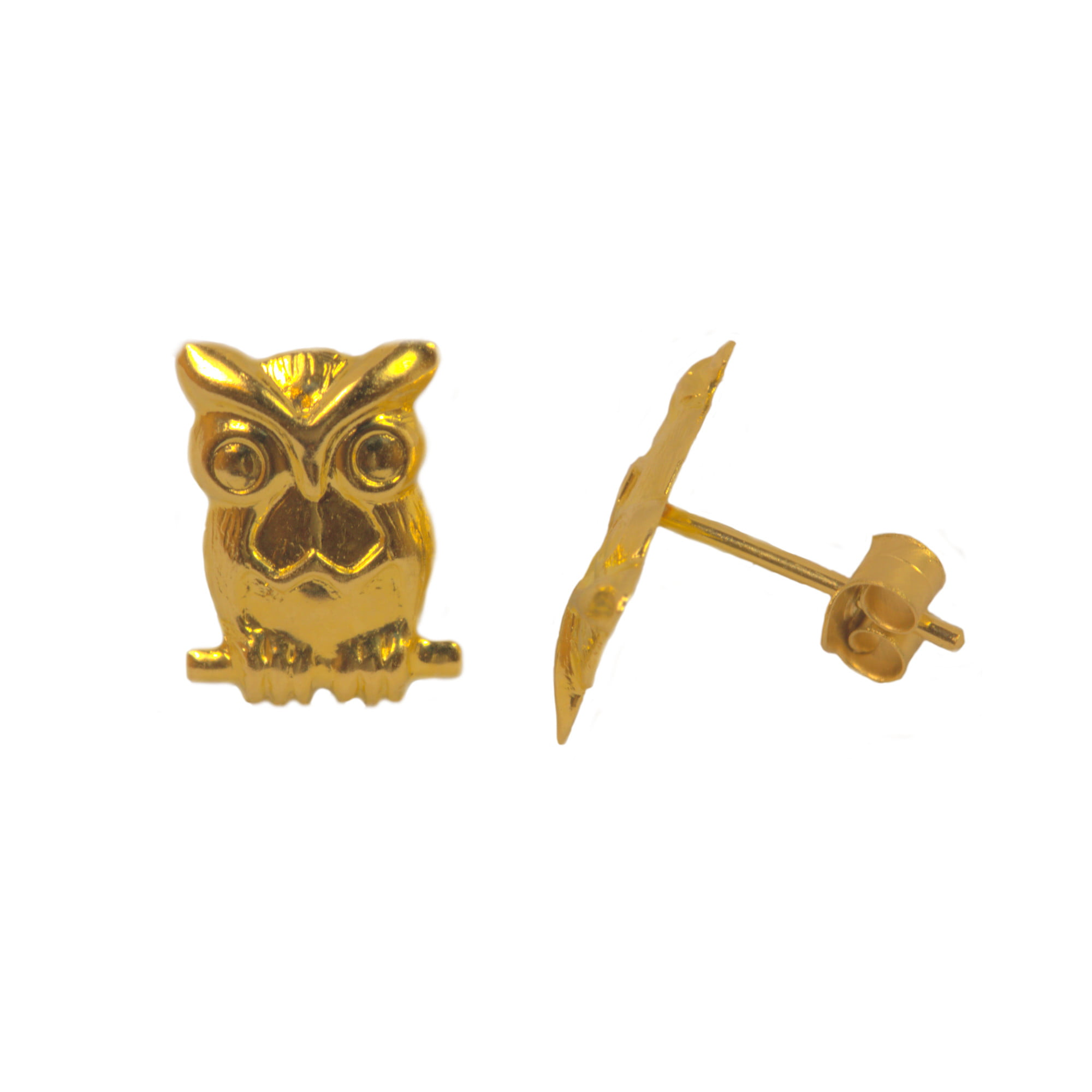 Owl earrings in 9ct gold side view