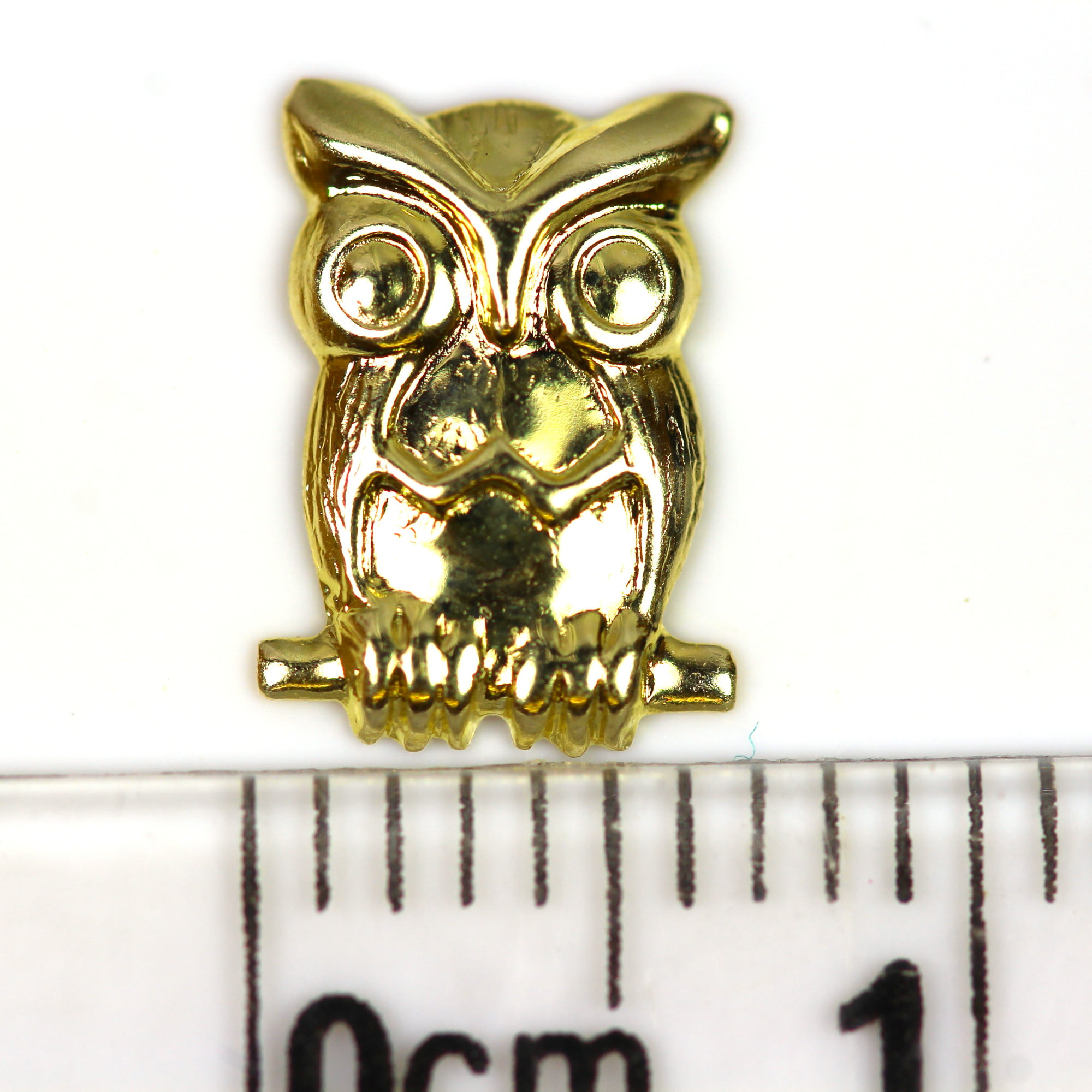Owl earrings in 9ct gold ruler