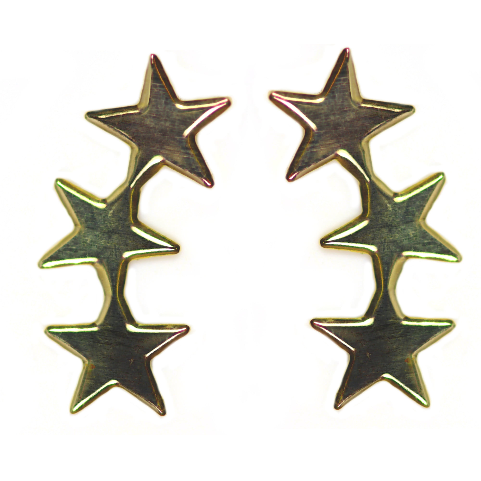 9ct gold cascading star earrings