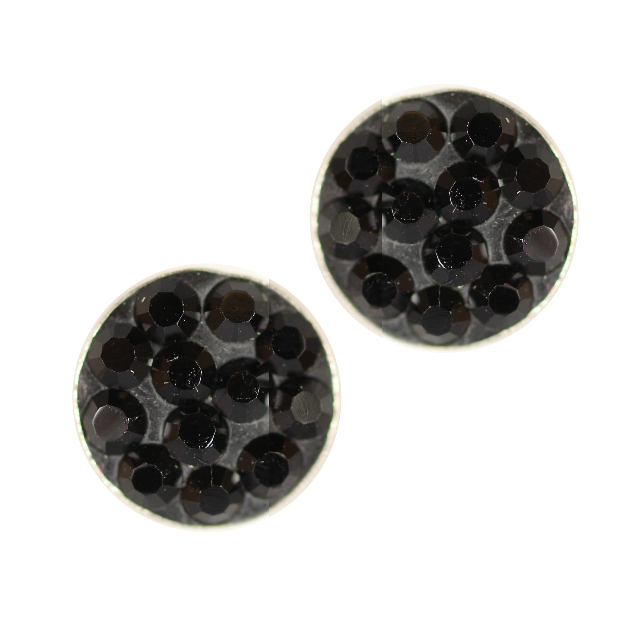 Round black crystal earrings in silver
