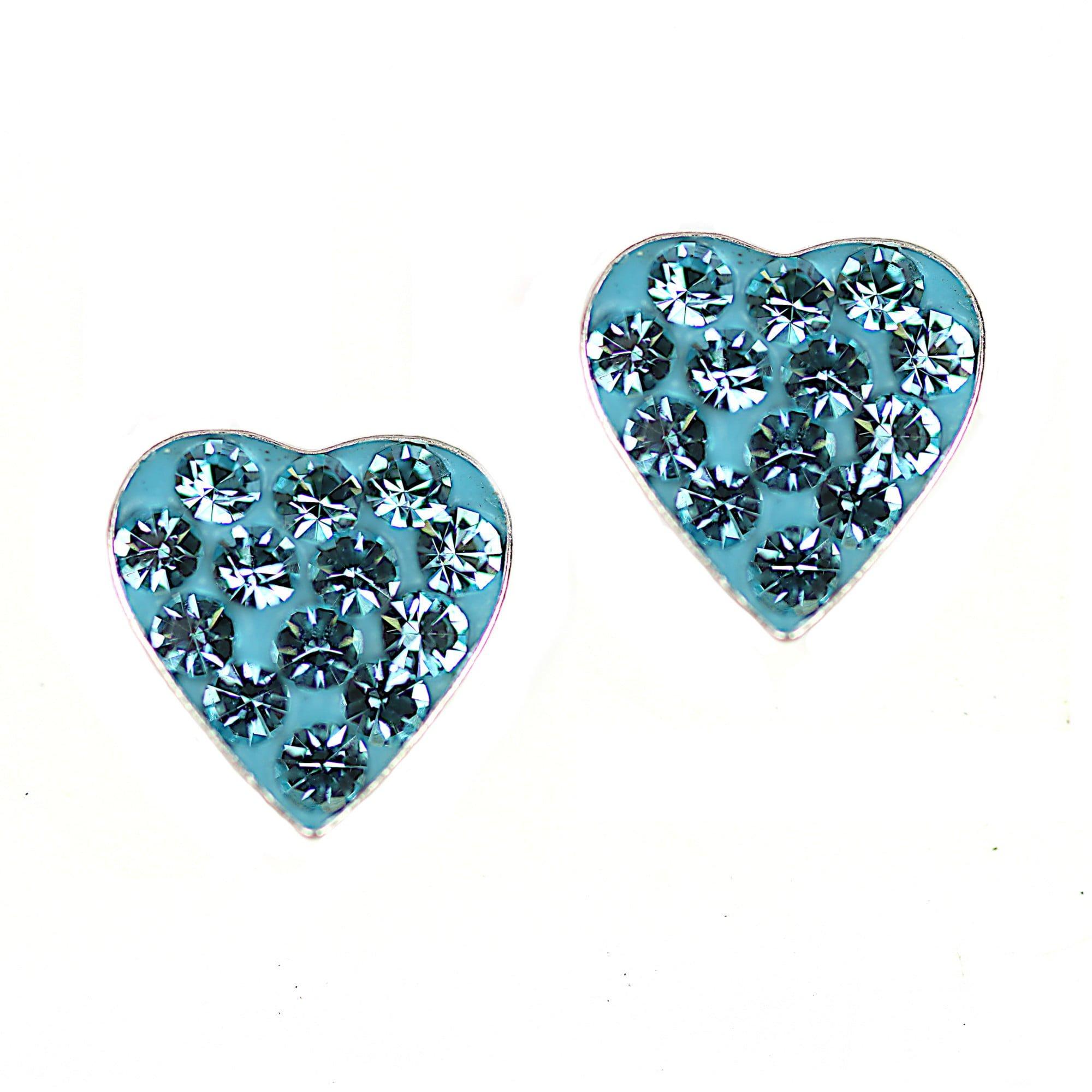 Aqua blue heart crystal earrings in sterling silver