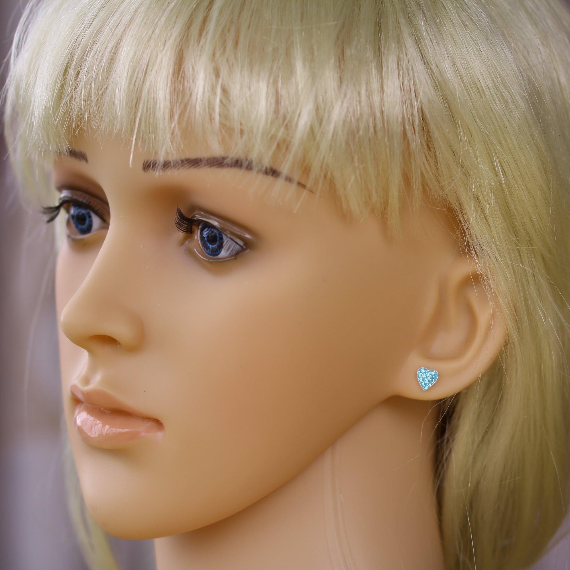 Aqua blue heart crystal earrings in sterling silver model