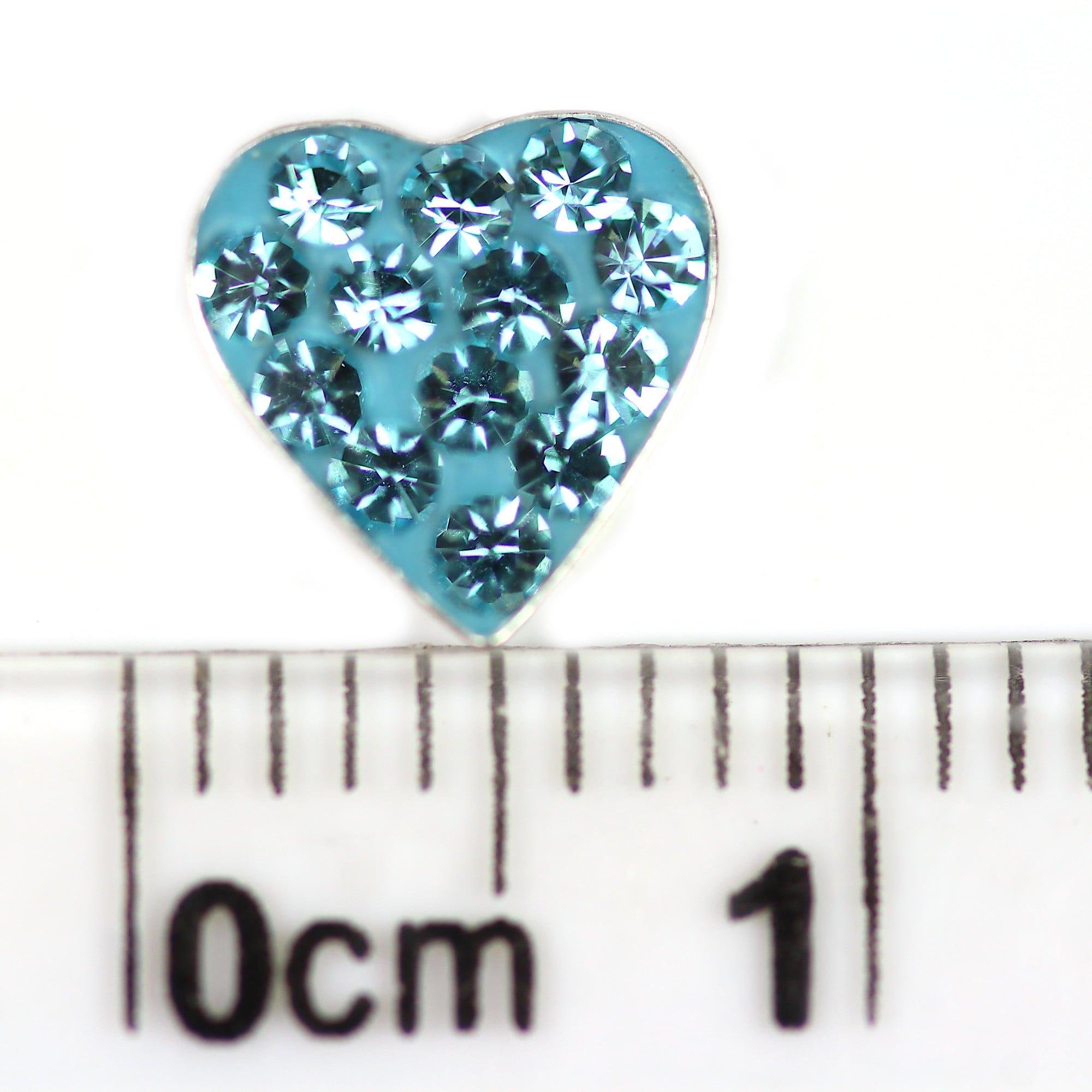 Aqua blue heart crystal earrings in sterling silver ruler