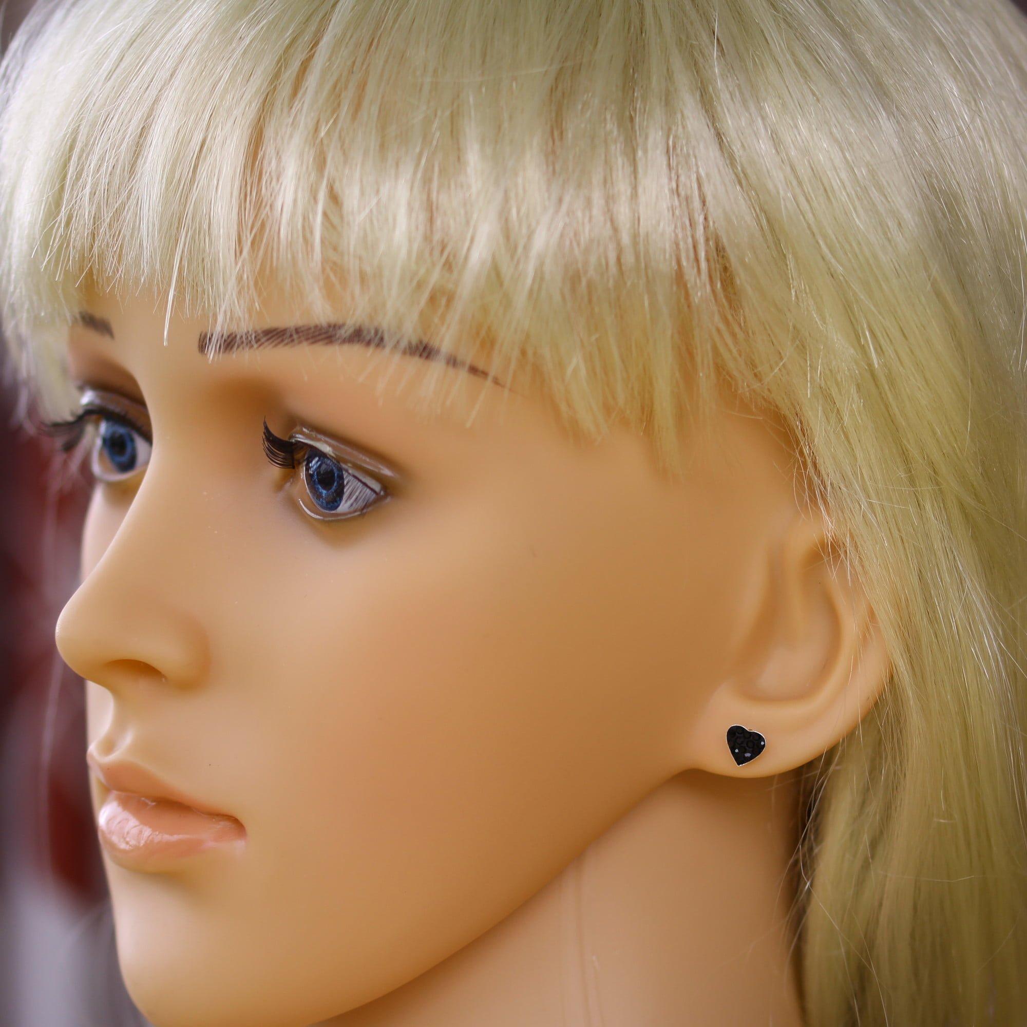 Black heart crystal earrings in sterling silver model