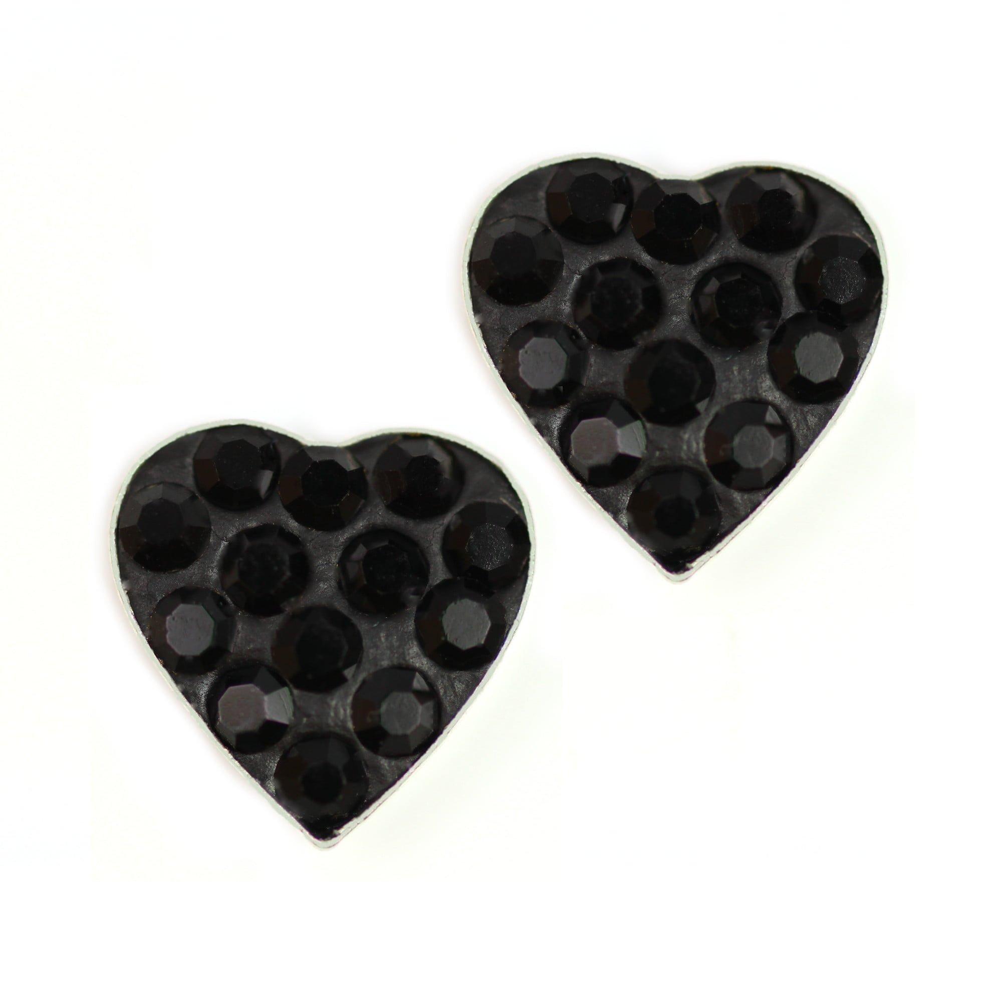 Black heart crystal earrings in sterling silver
