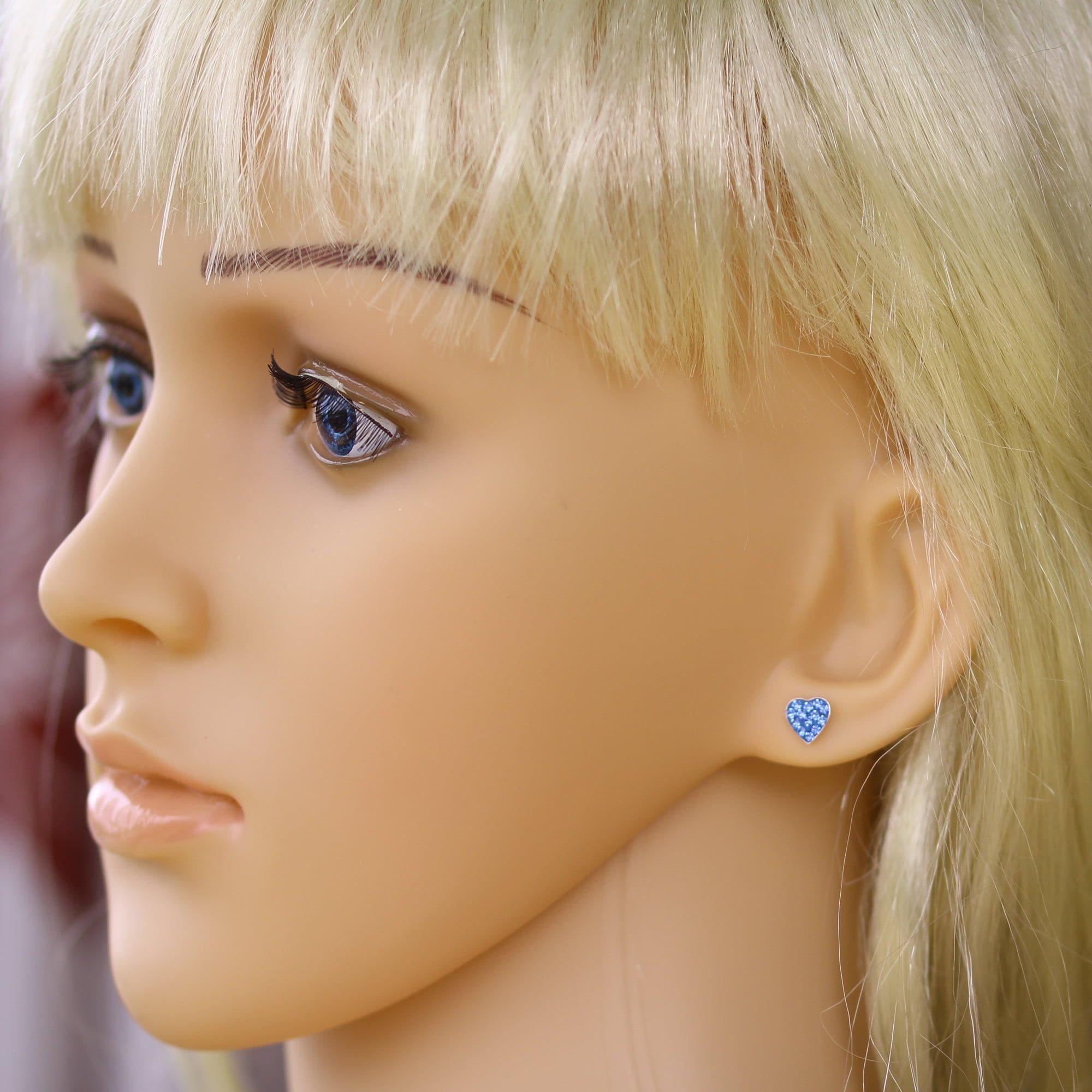 Blue crystal heart earrings in silver model