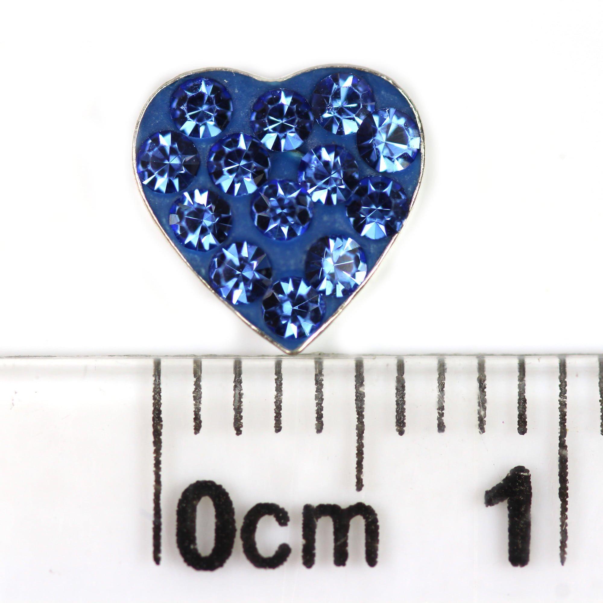 Blue crystal heart earrings in silver ruler
