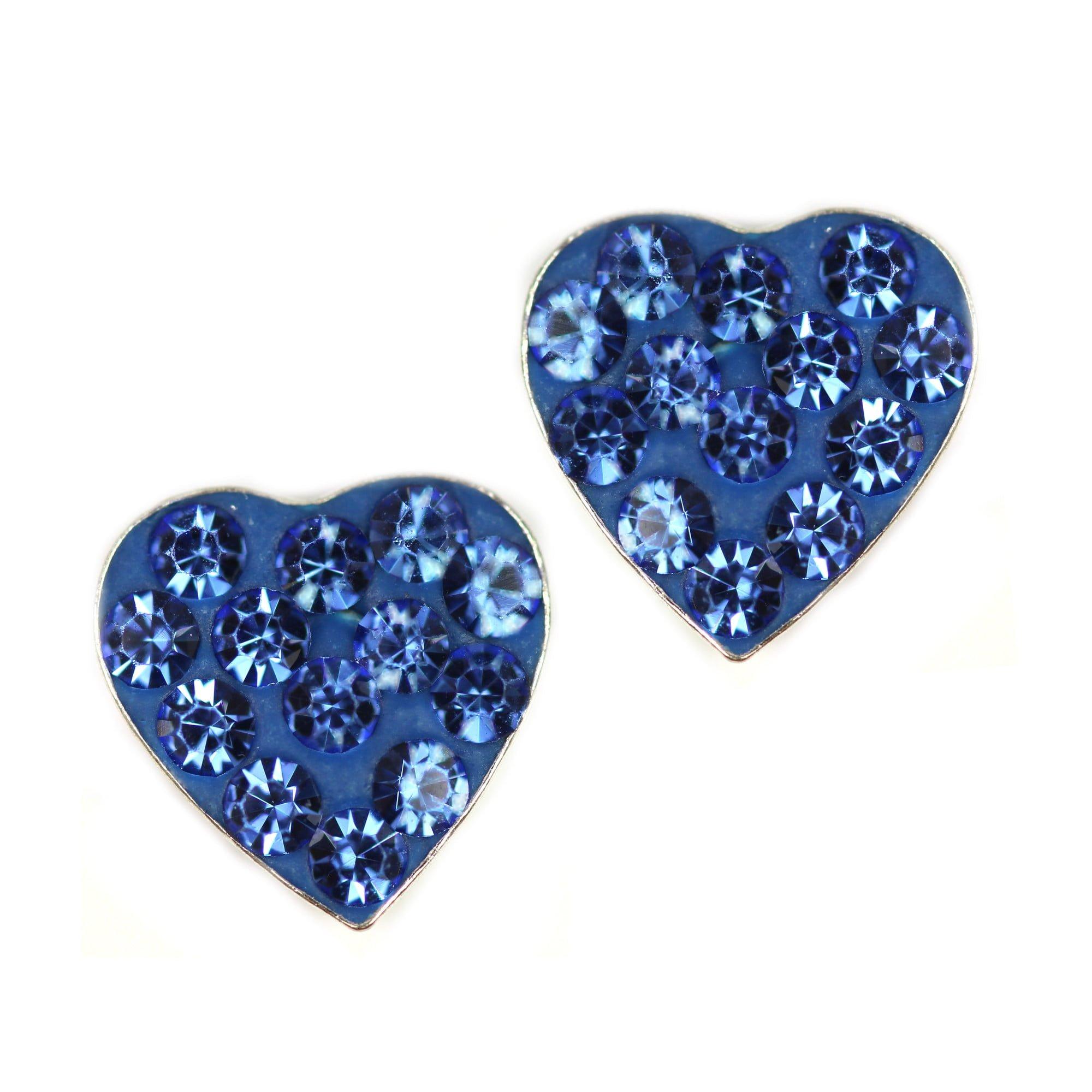 Blue crystal heart earrings in silver