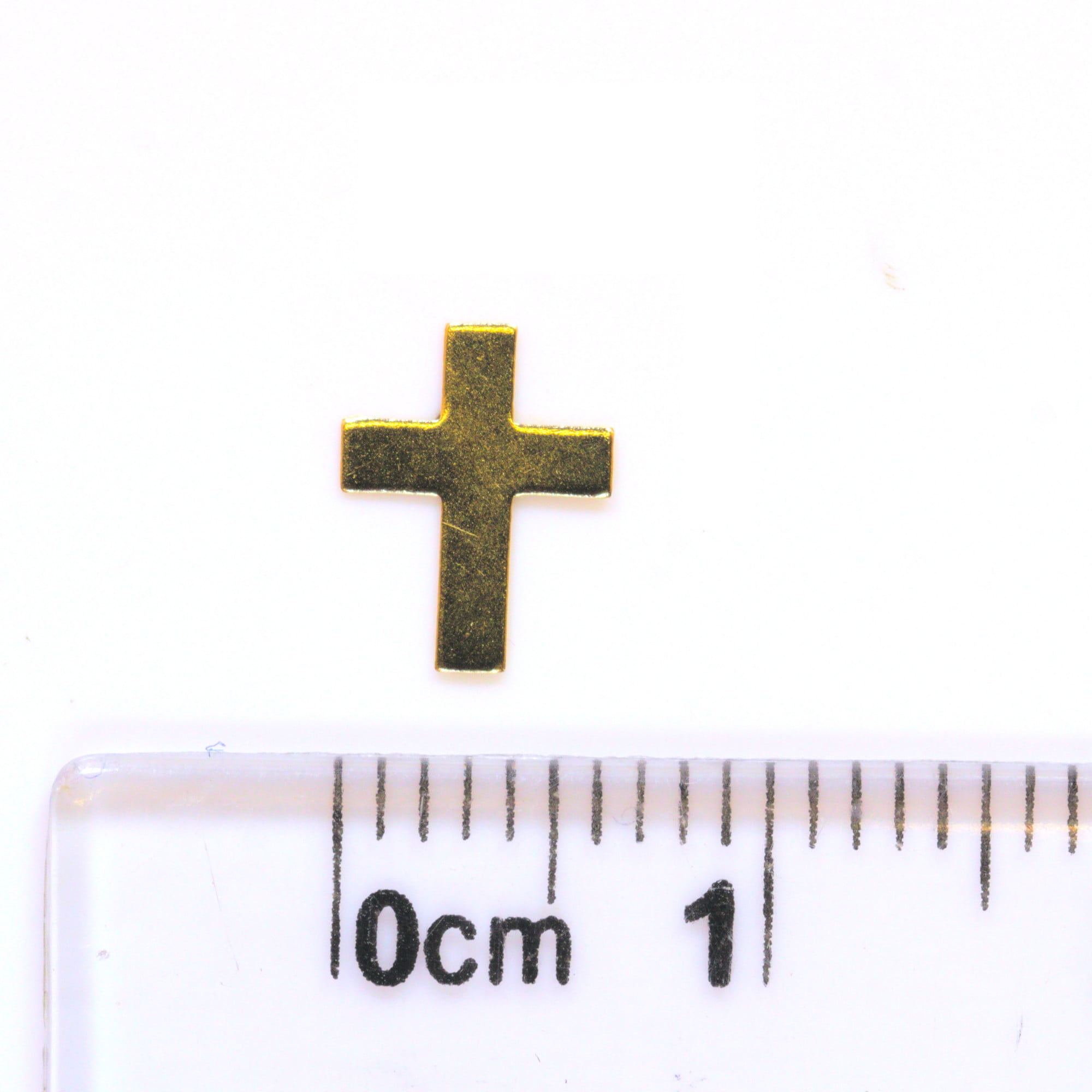 Small religious cross stud earrings in 9ct yellow gold with ruler