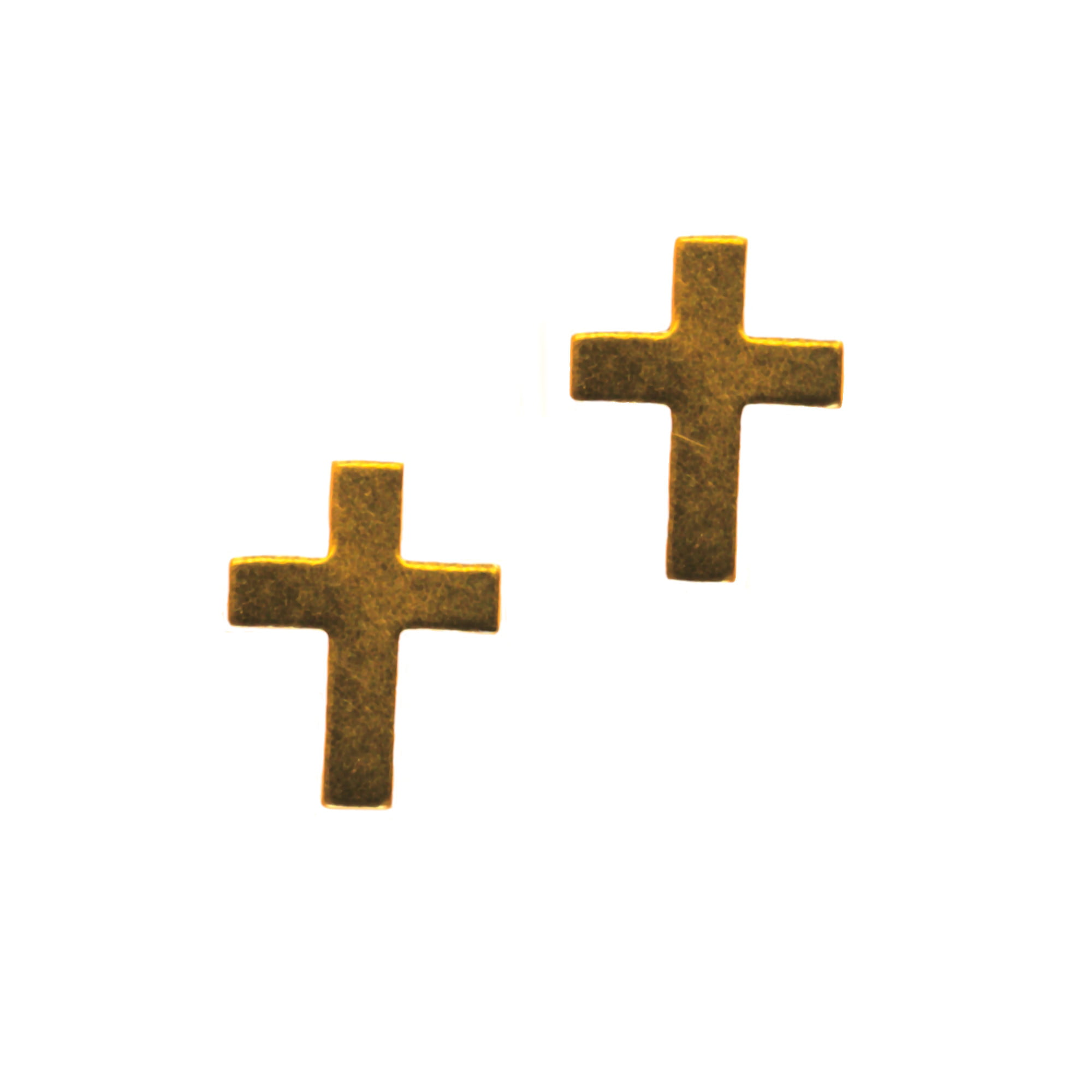 Small religious cross stud earrings in 9ct yellow gold
