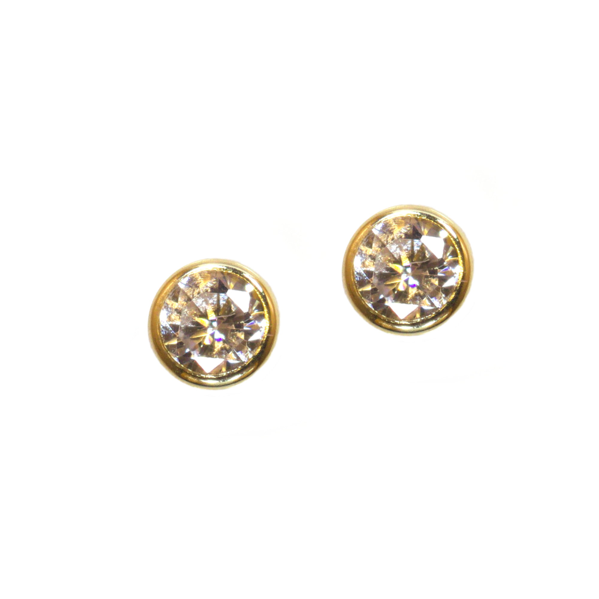 3mm round cz stud earrings in 9ct yellow gold