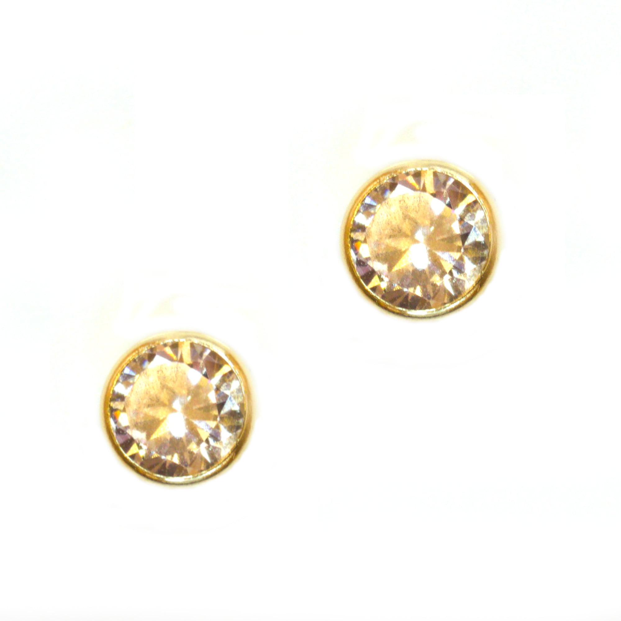 4mm CZ round 9ct yellow gold stud earrings