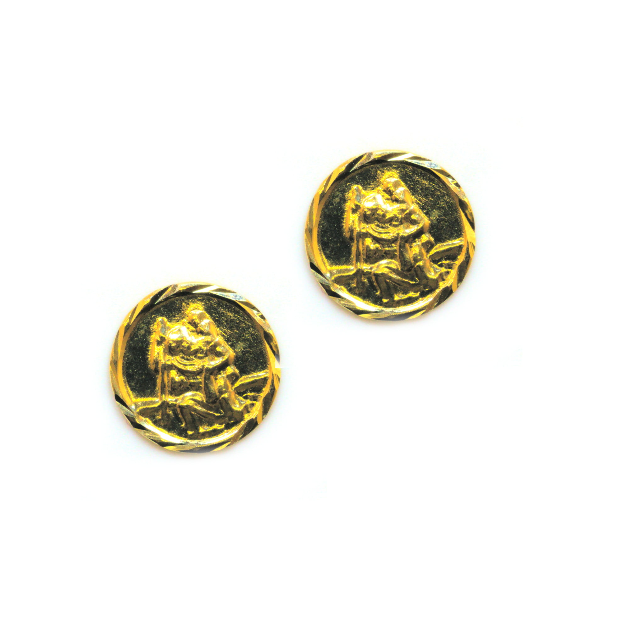 St Christopher earrings in 9ct yellow gold