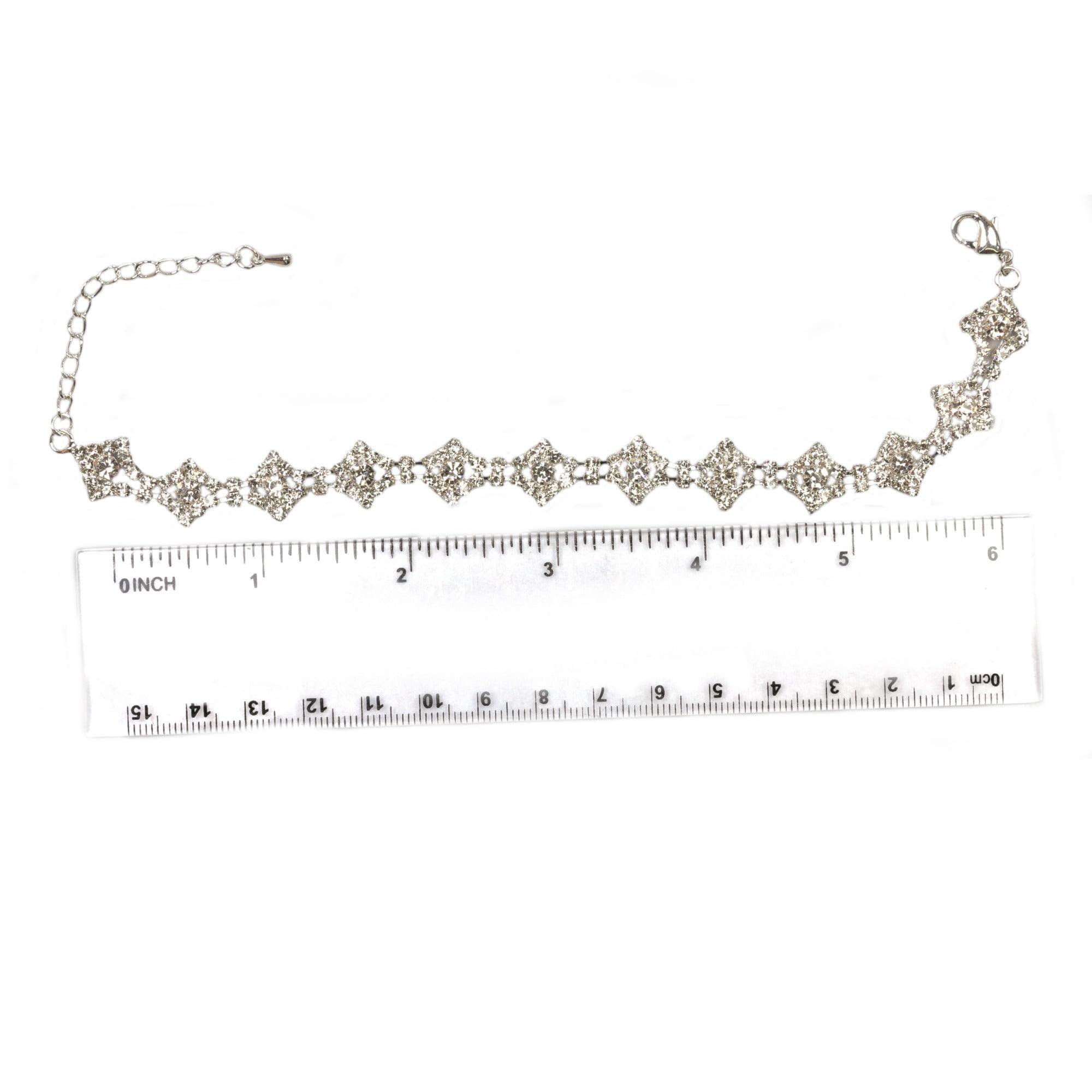 Clear crystal bling bracelet in silver plate ruler
