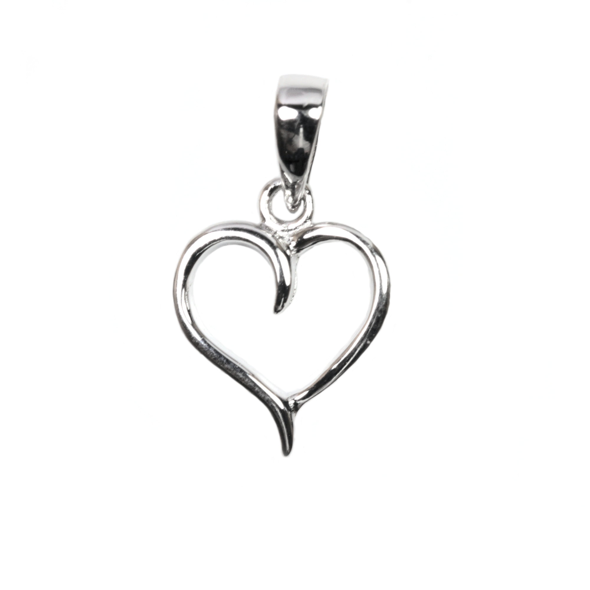Open heart charm pendant in sterling silver