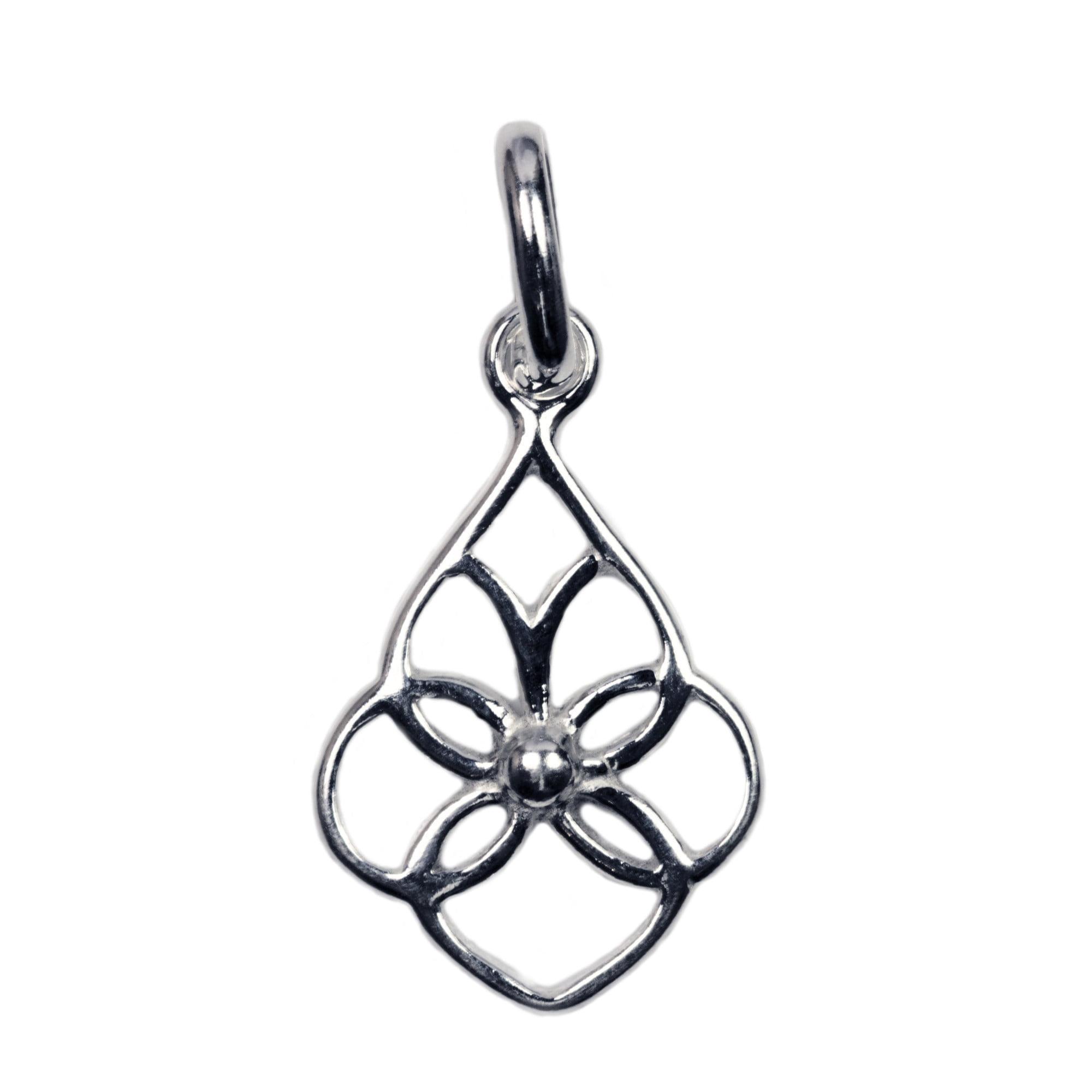 Open celtic style silver charm teardrop