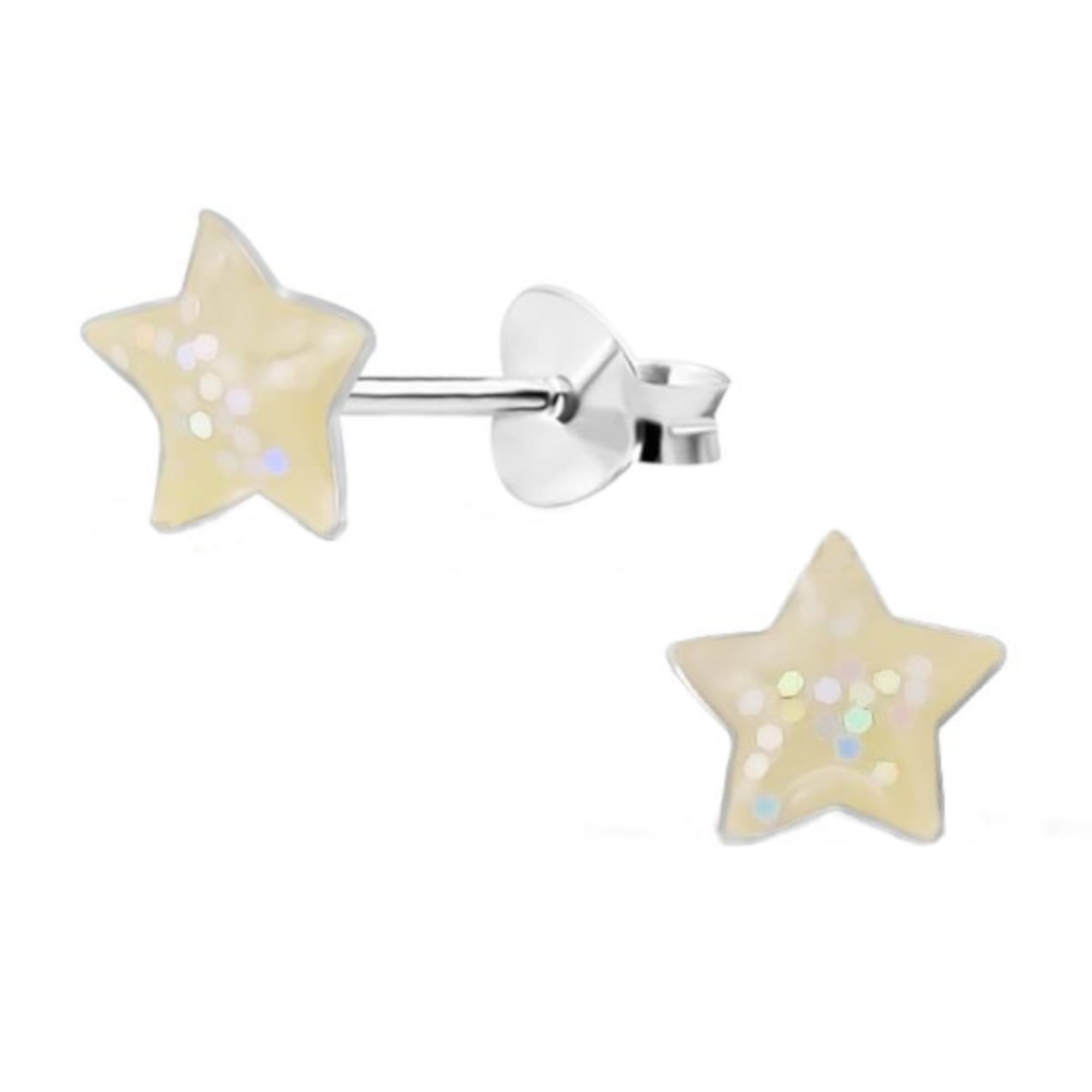 White glitter star earrings in sterling silver