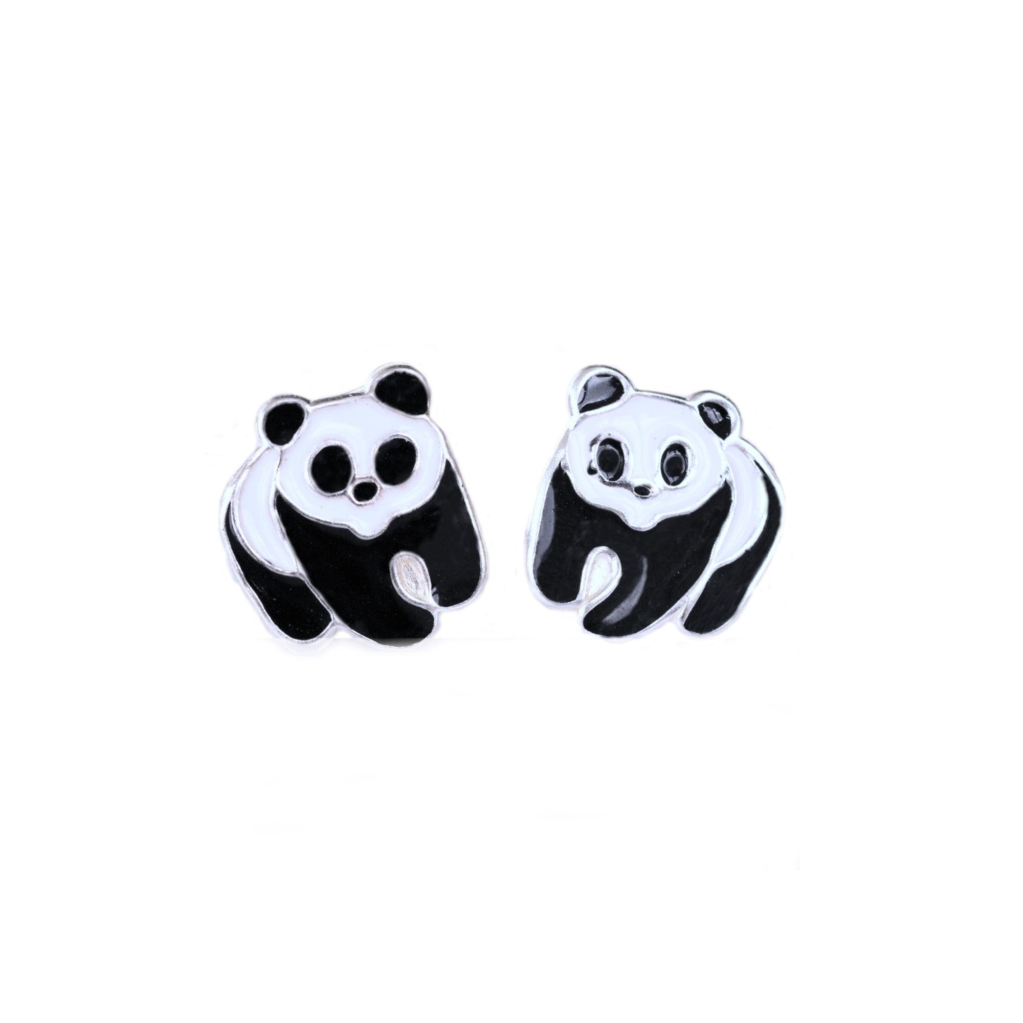 Panda earrings in sterling silver