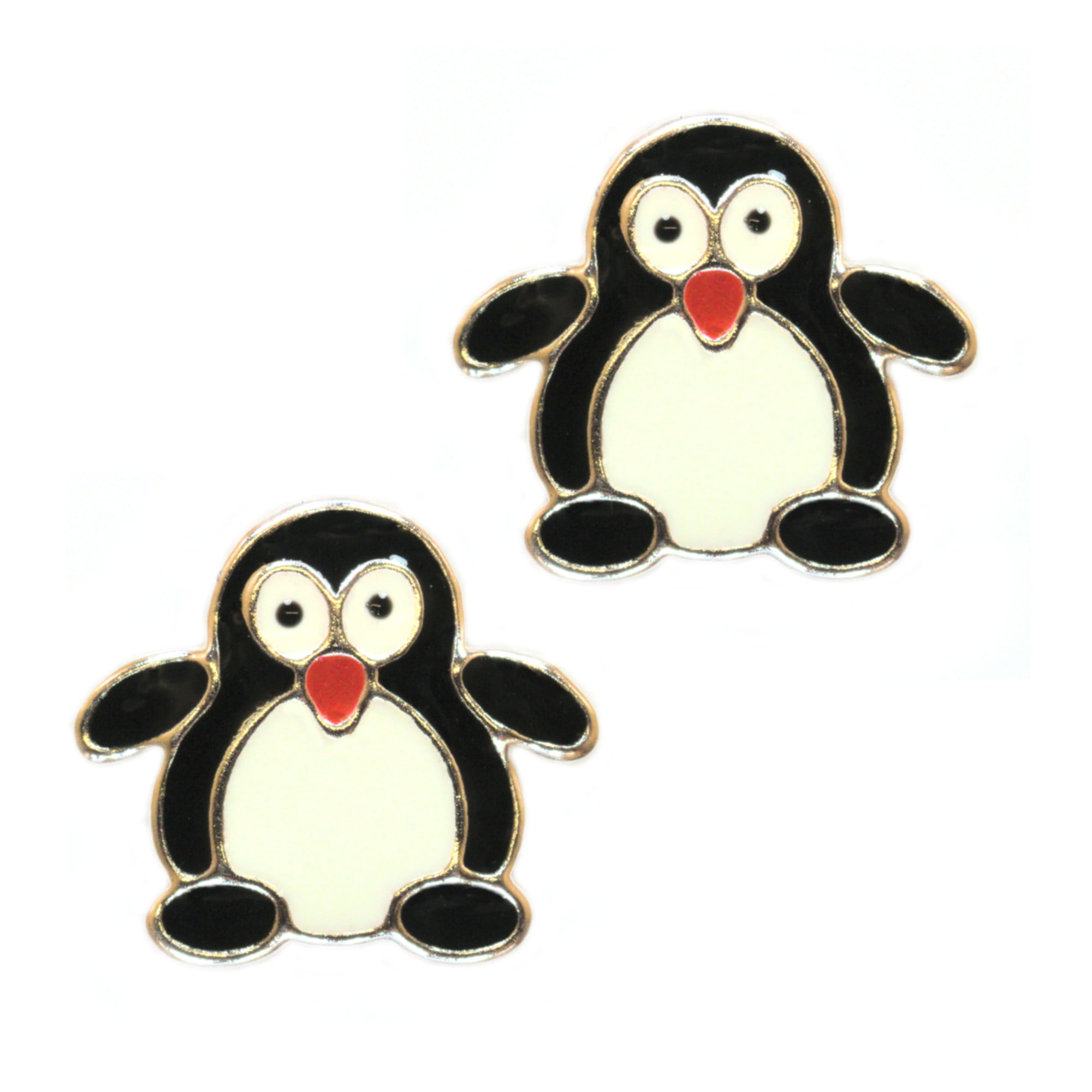 Penguin earrings in sterling silver