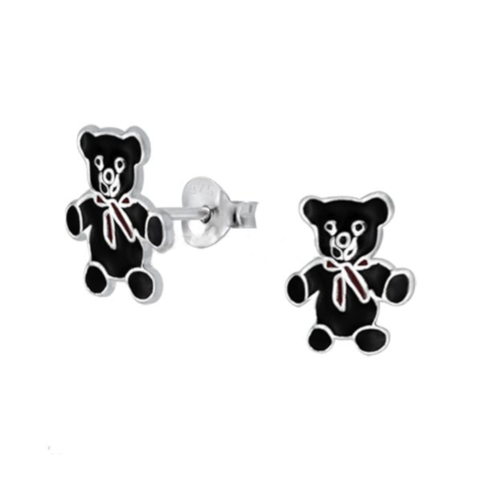 Teddy bear earrings in sterling silver