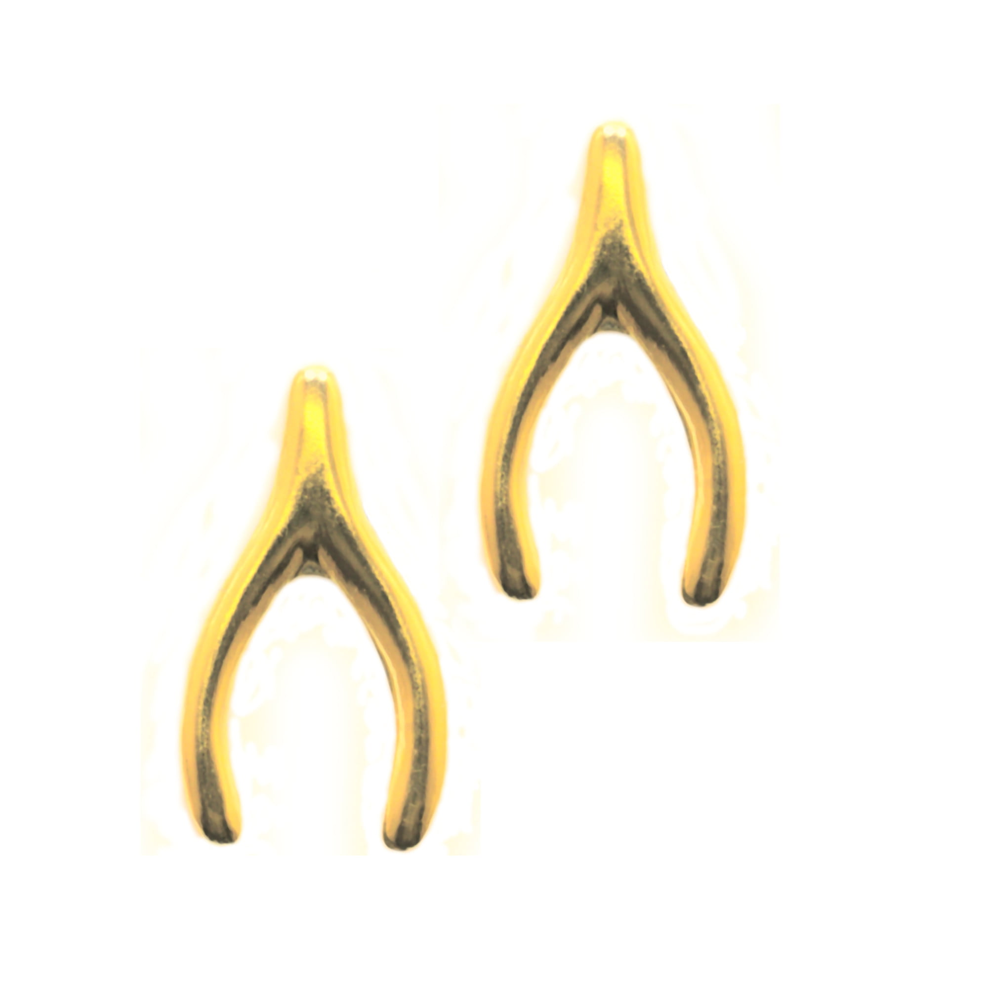 9ct yellow gold stud earrings in a wishbone shape