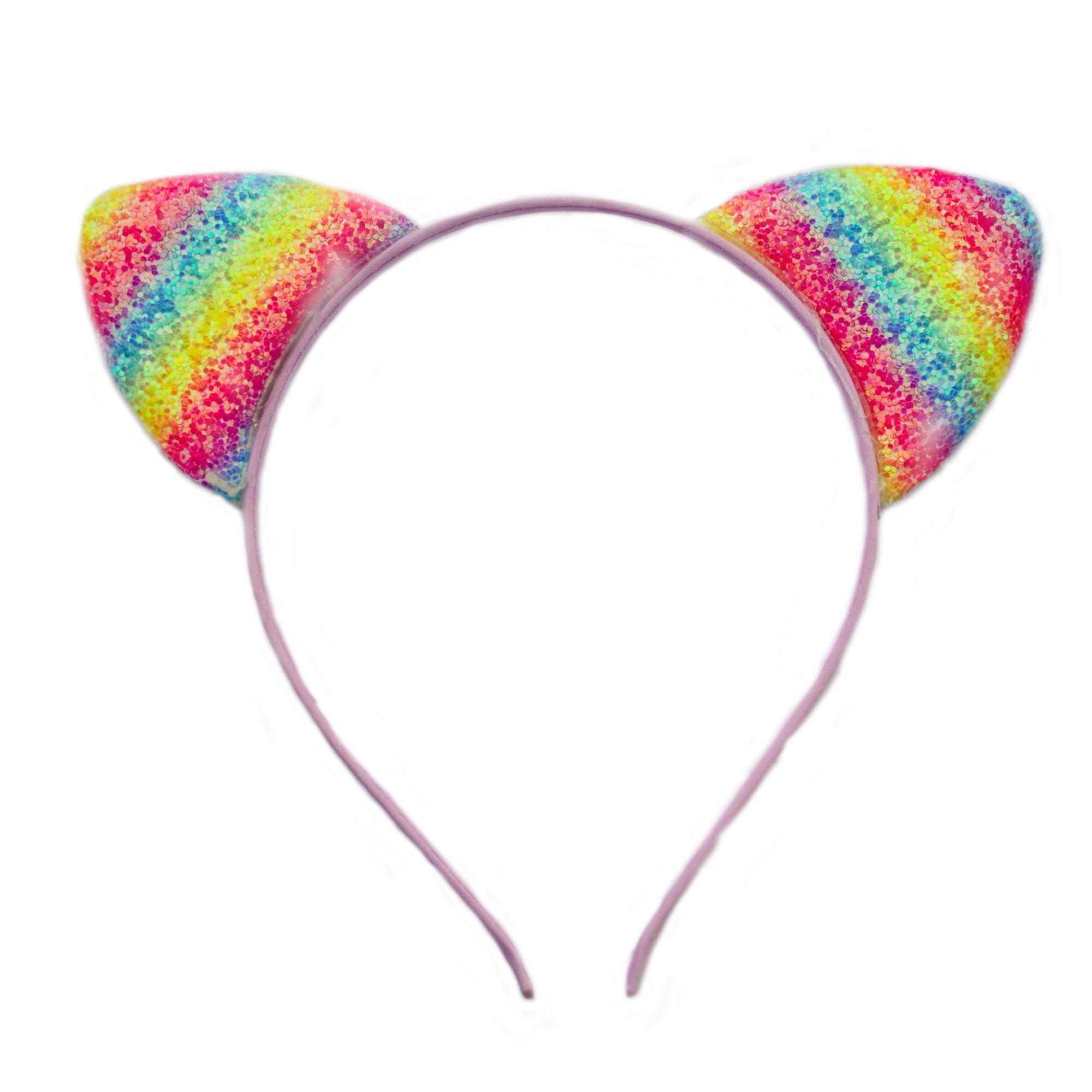 Glitter cats ears on aliceband in purple