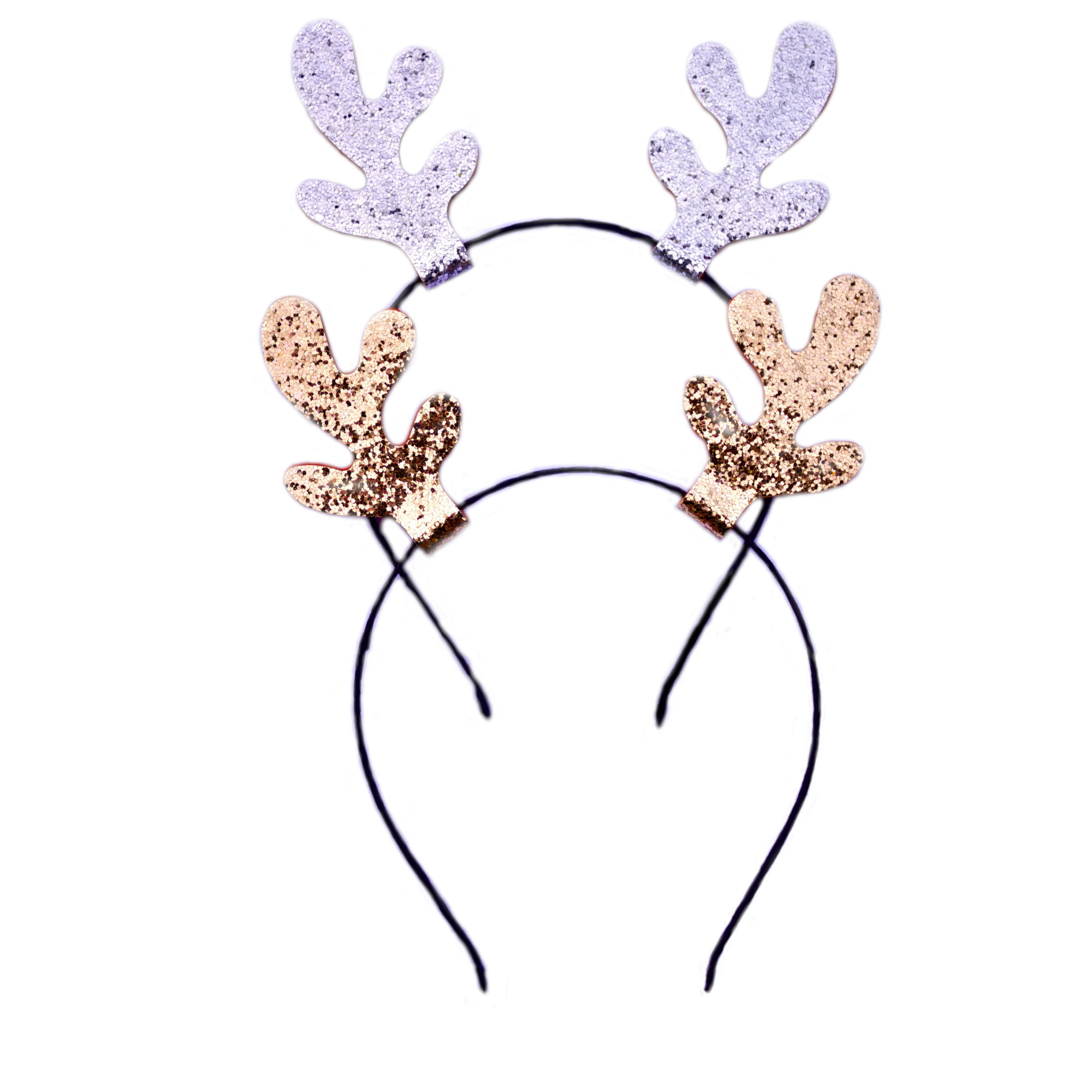 Pair of glitter antler headbands