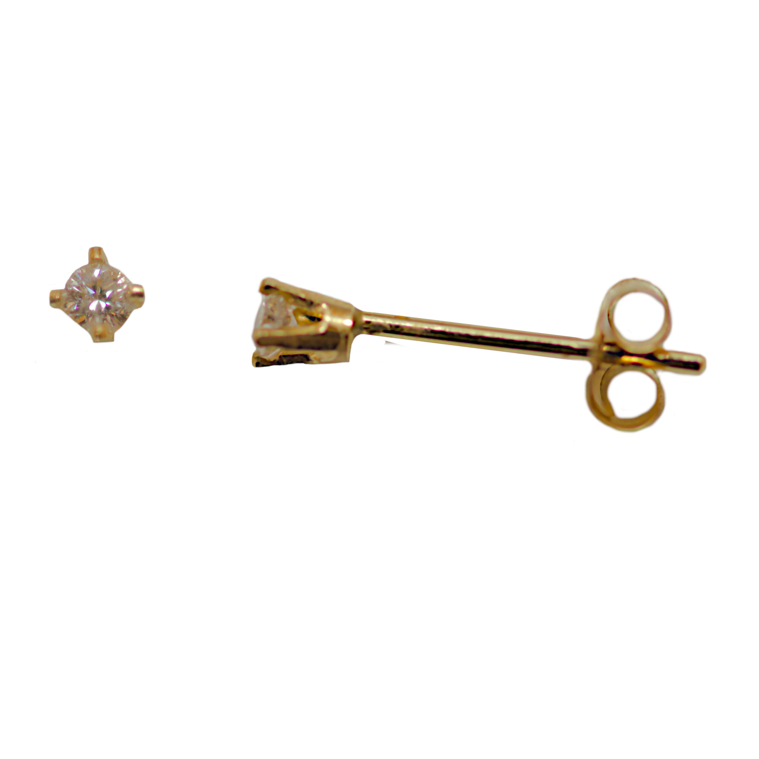 Tiny real diamond stud earring in 9ct yellow gold