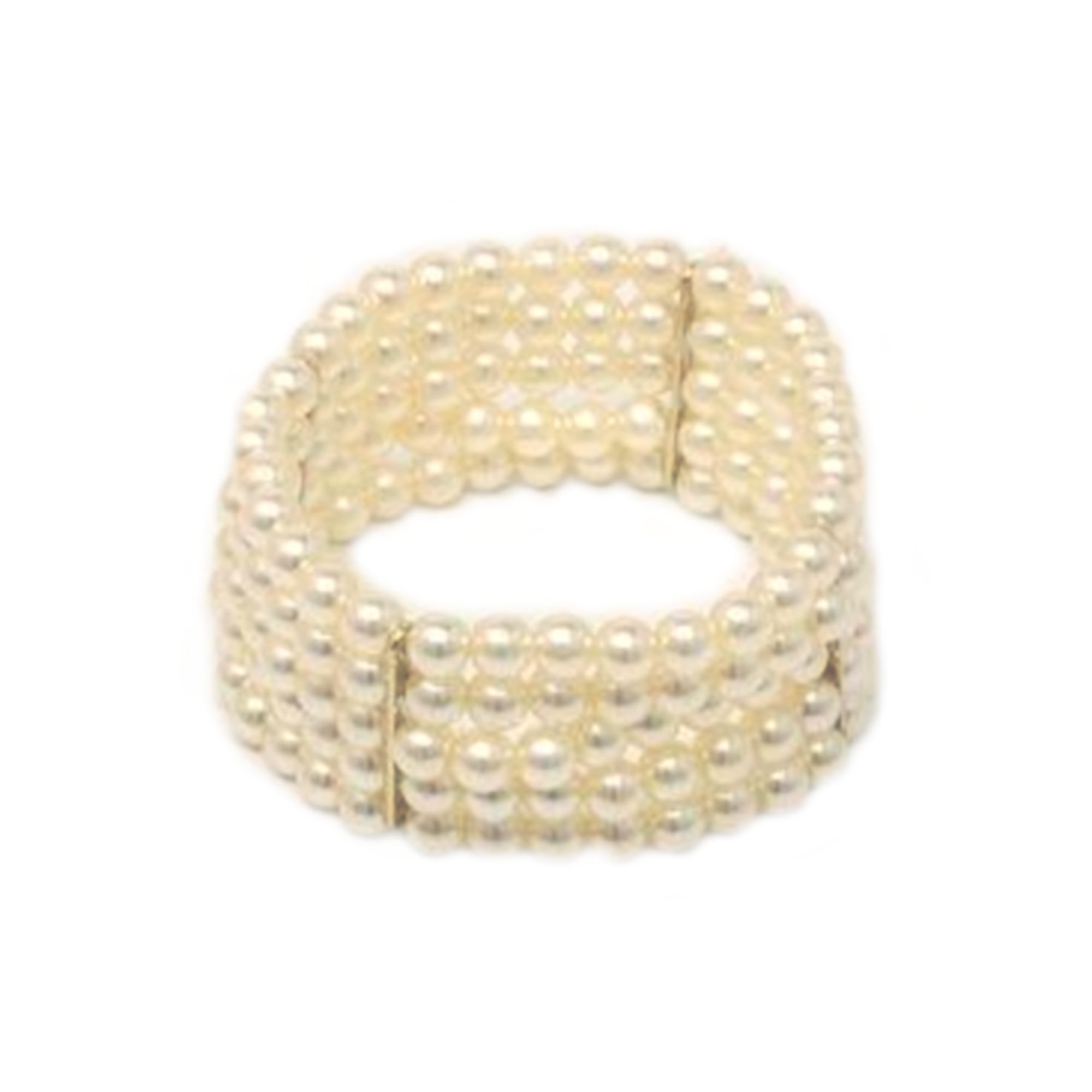 Pearl bead, 5 row stretch cuff bracelet.