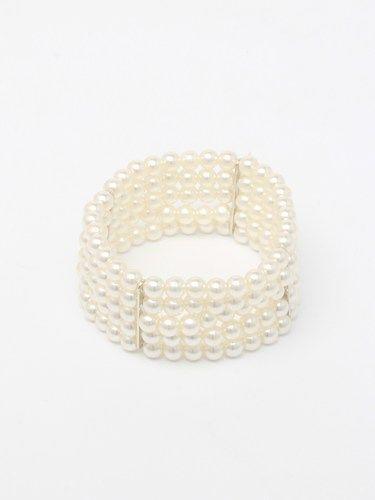 Pearl bead, 5 row stretch cuff bracelet. (alt 1)