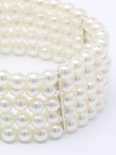 Pearl bead, 5 row stretch cuff bracelet. (alt 2)