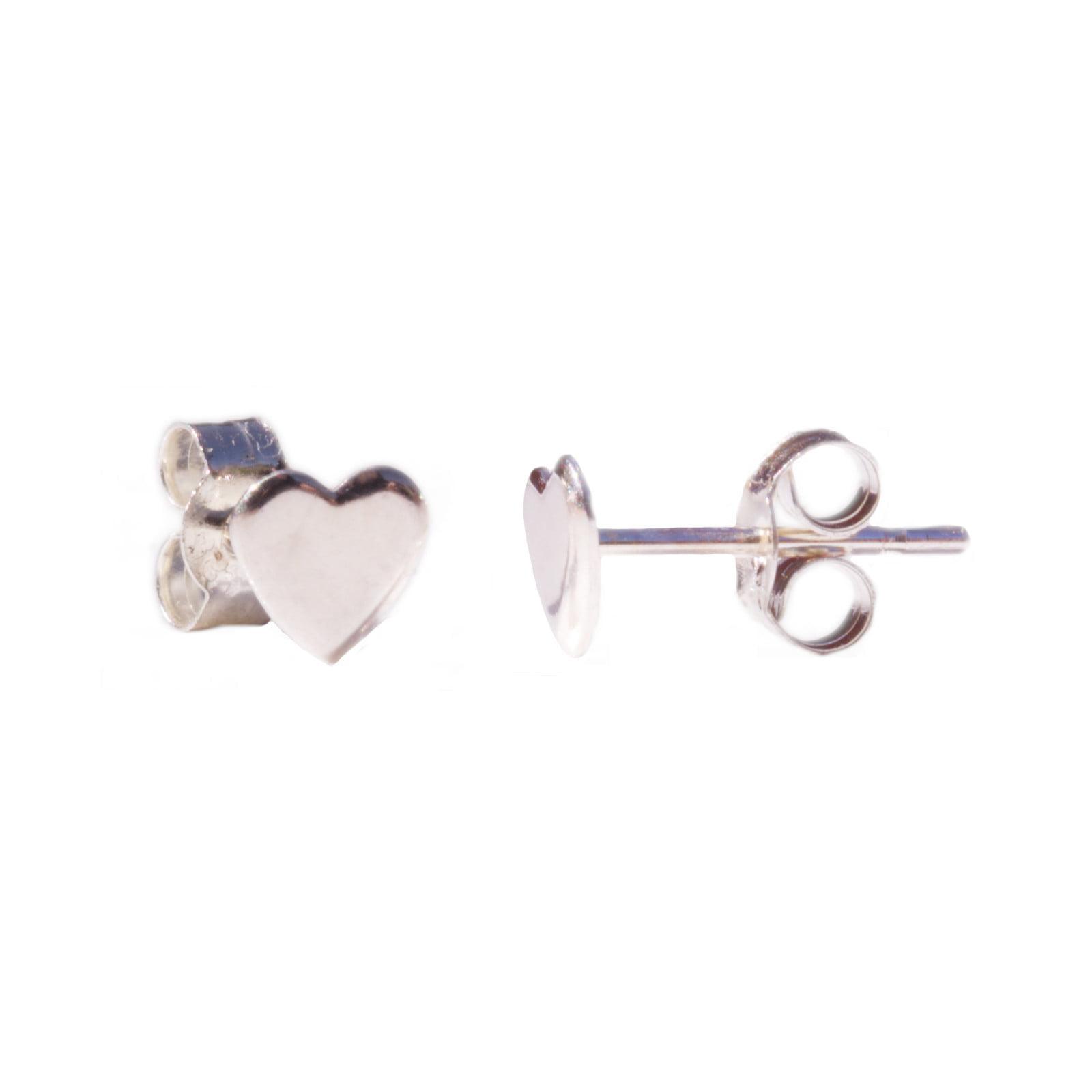 Plain Heart Stud Earrings in 925 Sterling Silver