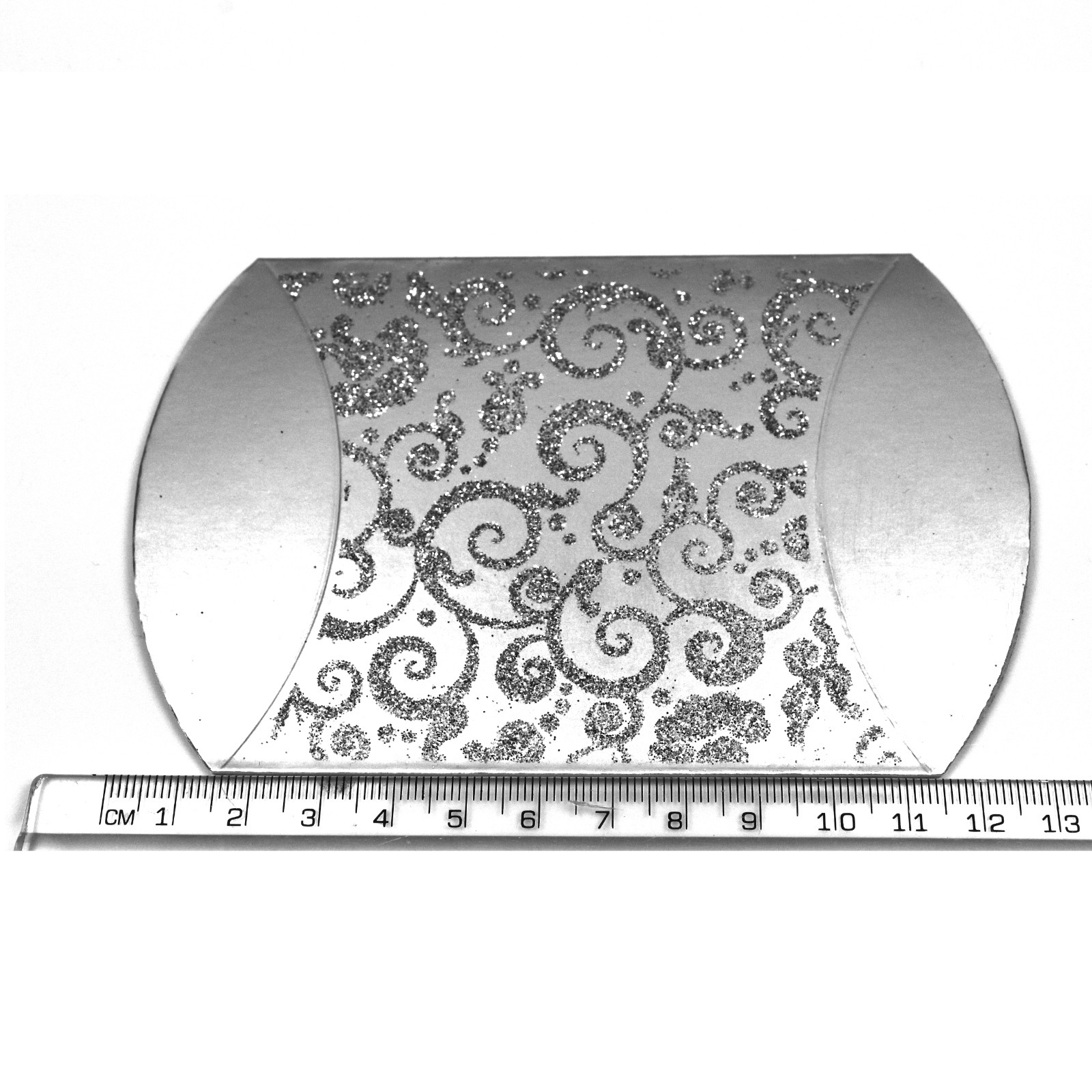 Silver glitter gift box ideal for jewellery and wedding favours flat ruler