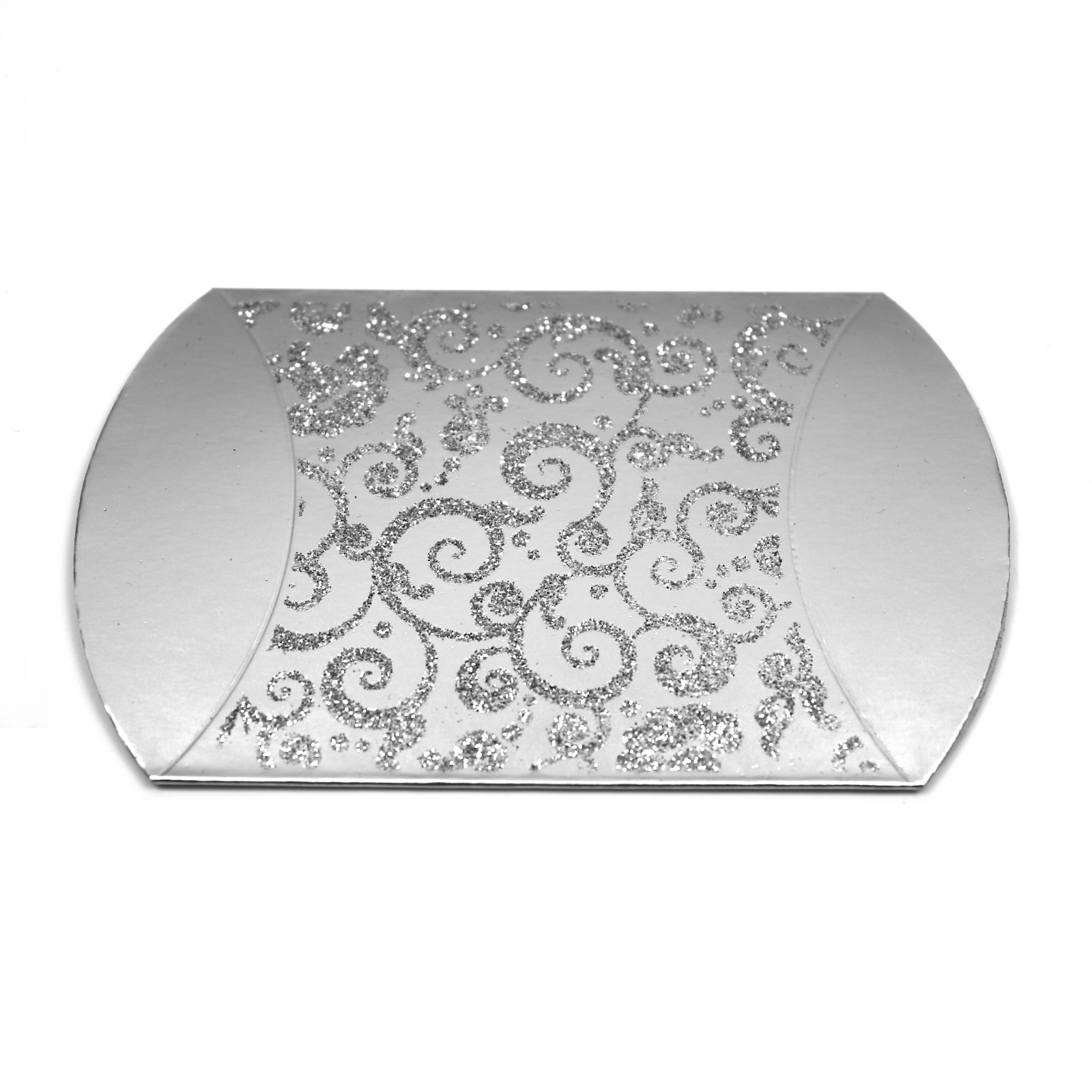 Silver glitter gift box ideal for jewellery and wedding favours flat