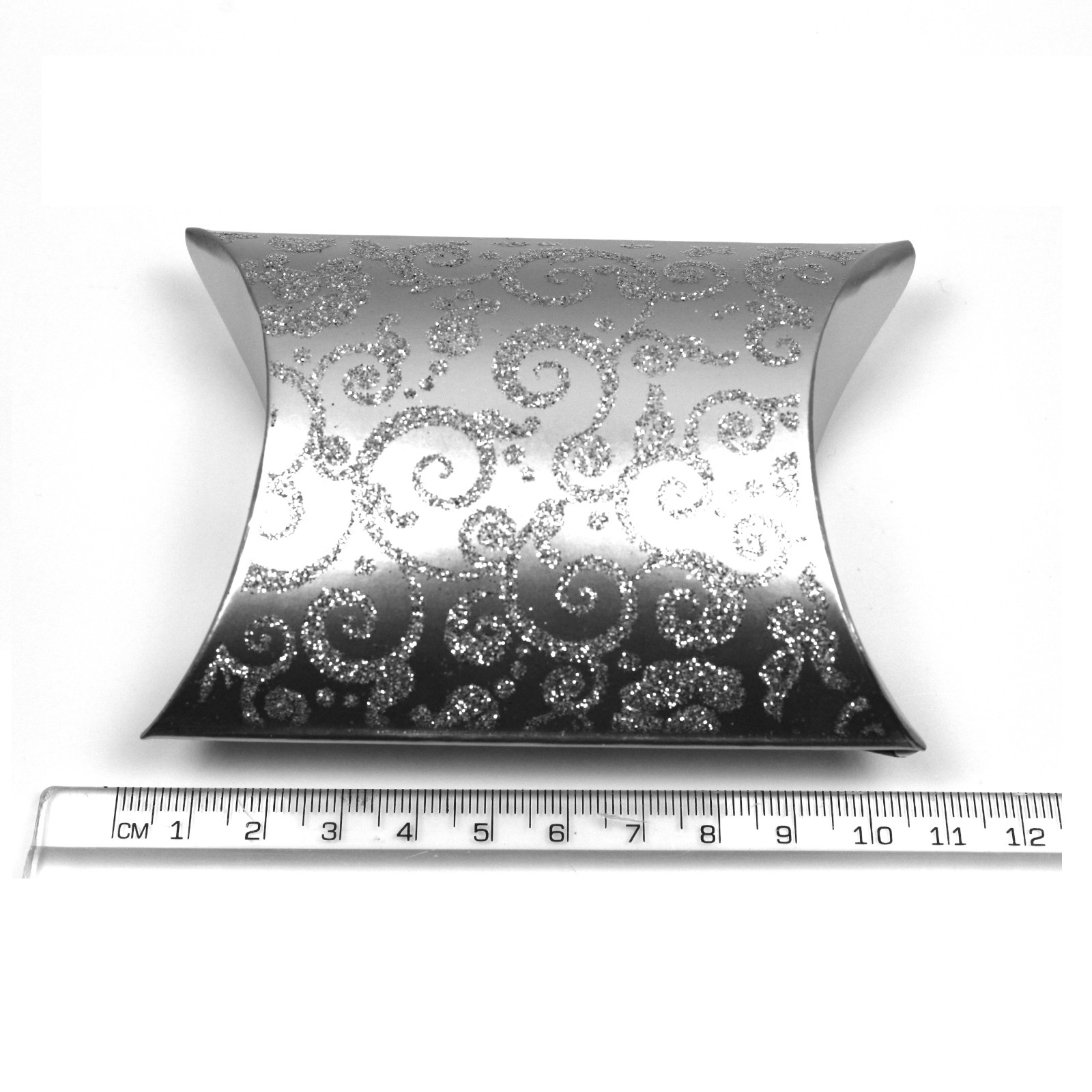 Silver glitter gift box ideal for jewellery and wedding favours ruler