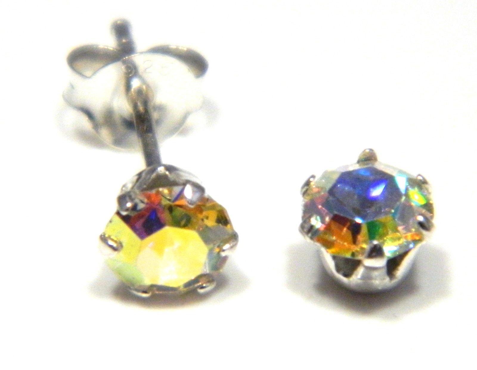 5 Mm Aurorora Borealis Coloured Crystal Stud Round Solitaire Earrings In Sterling Silver