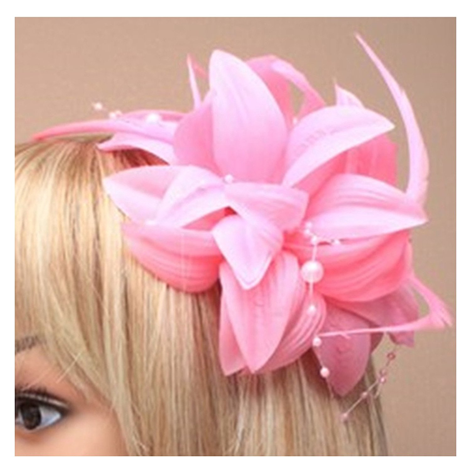 Pink Fascinator With Petals Pearls And Tendrils Beak Clip And Pin